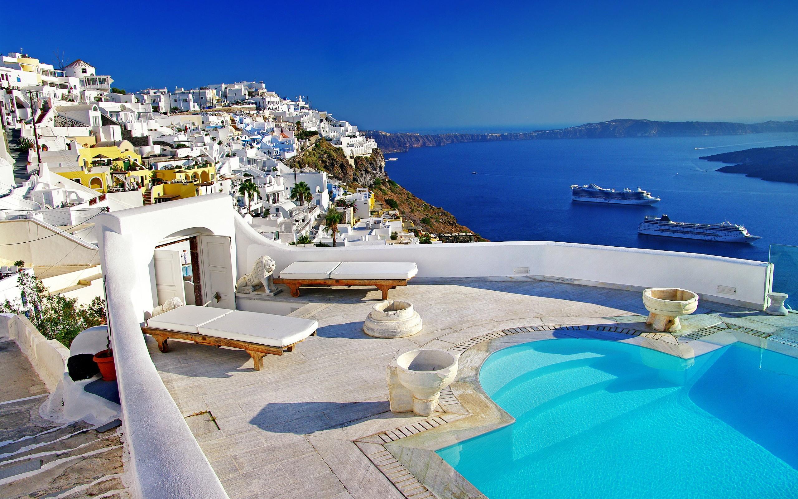General 2560x1600 house cruise ship river Greece mykonos island Santorini sunlight ship