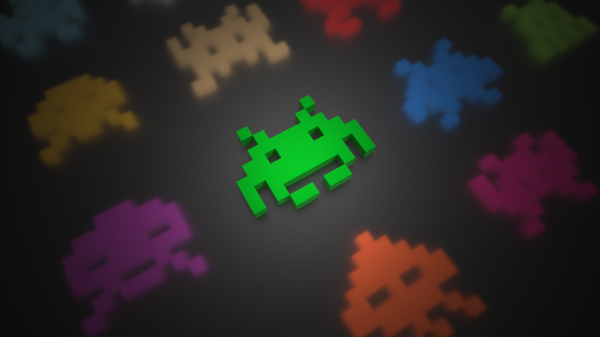 General 1920x1080 voxels Space Invaders video games colorful 3D