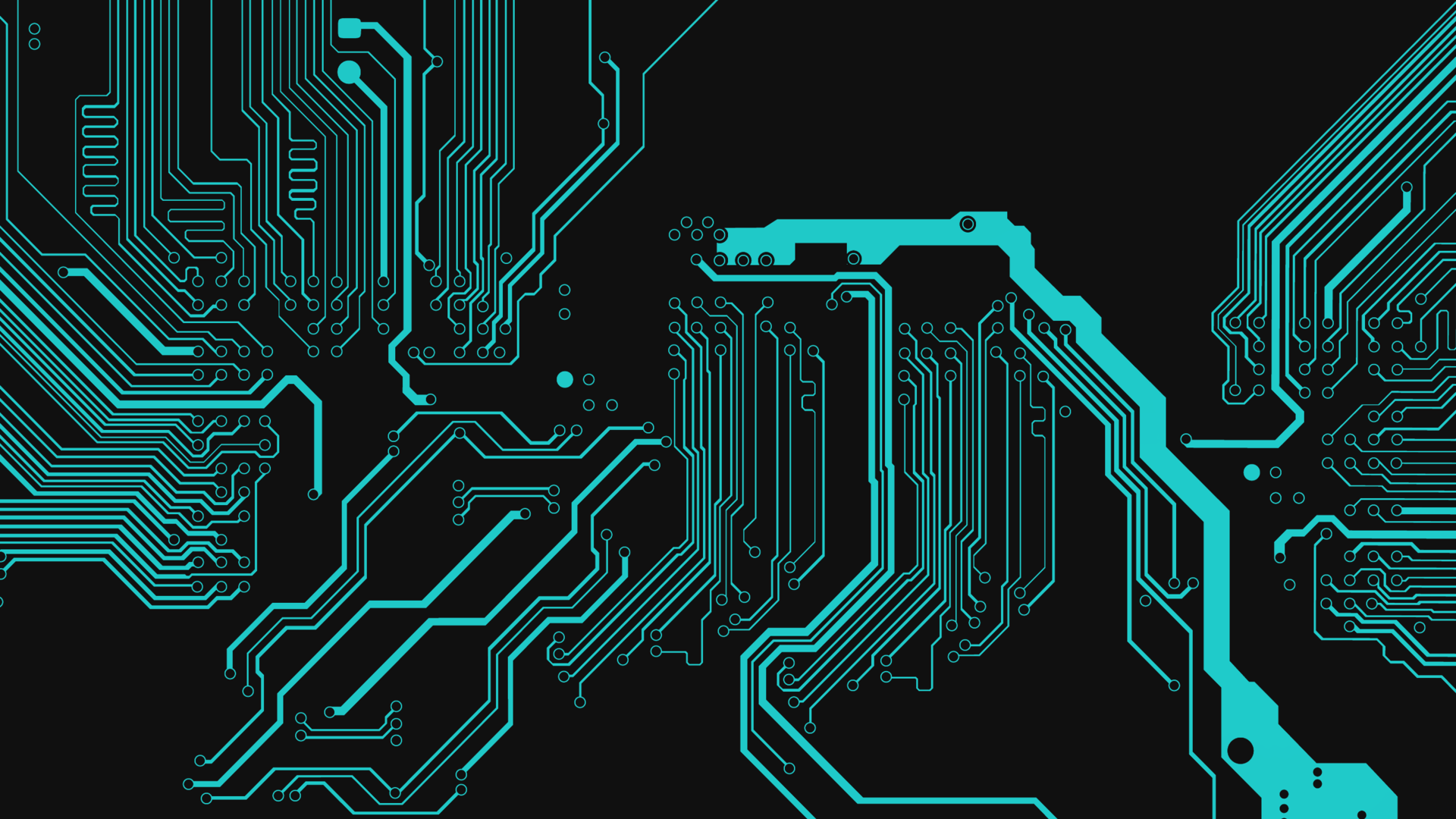 General 1920x1080 digital art black dark background circuit electronic abstract minimalism technology PCB turquoise simple cyan circuitry