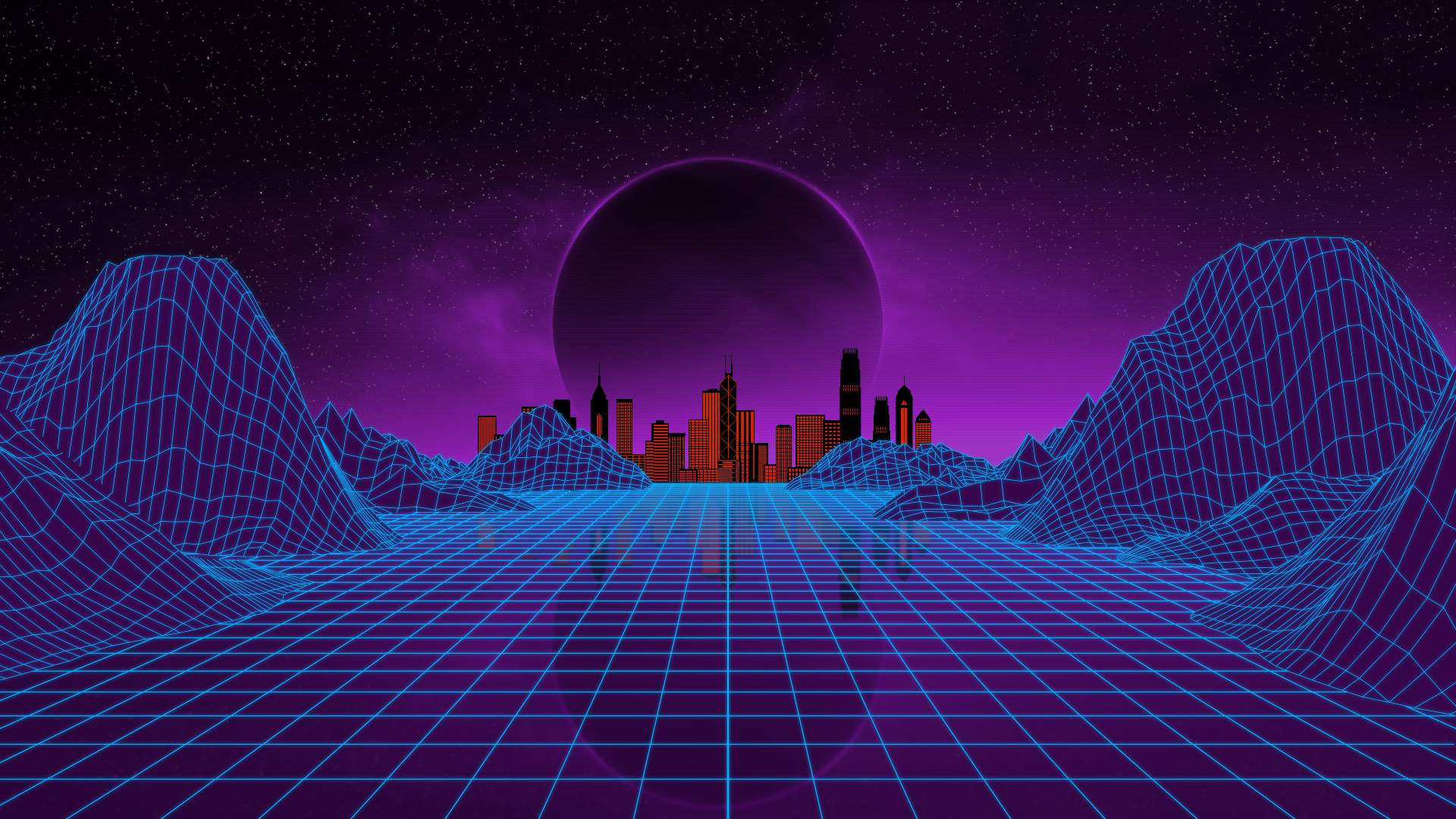 General 1920x1080 synthwave retrowave Retrowave grid mountains city