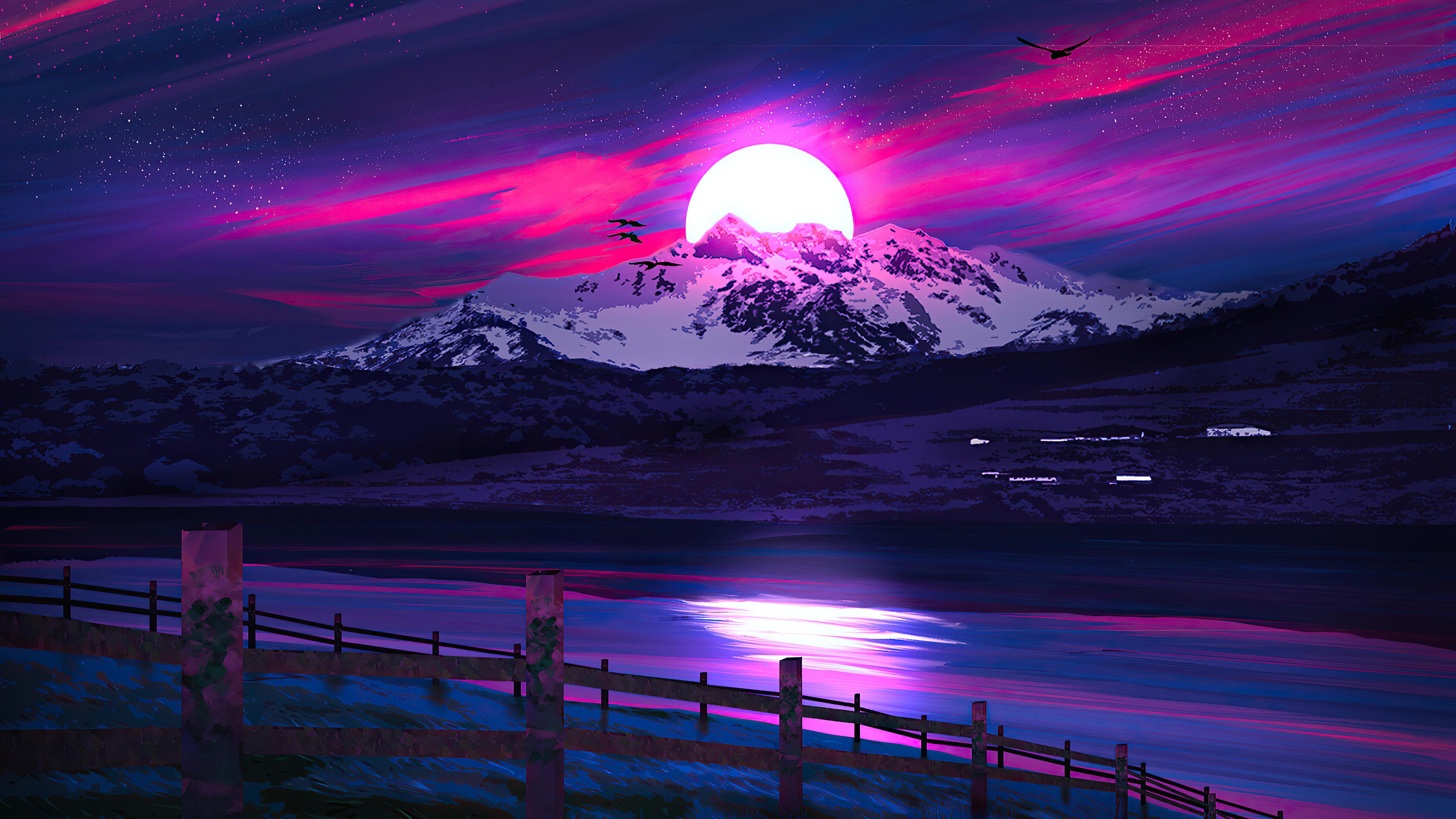 General 3840x2160 vector landscape colorful digital art