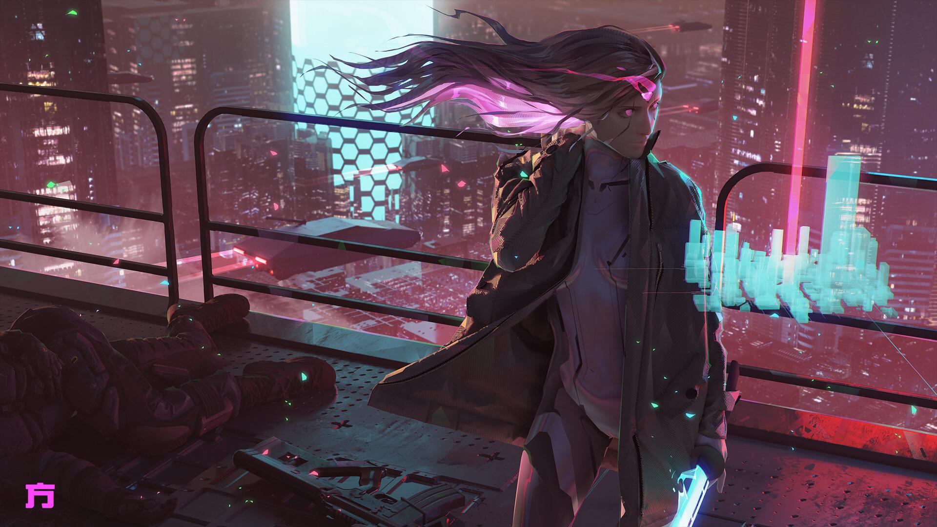 General 1920x1080 science fiction ArtStation cyborg Chinese character Chin Fong long hair futuristic city cyberpunk