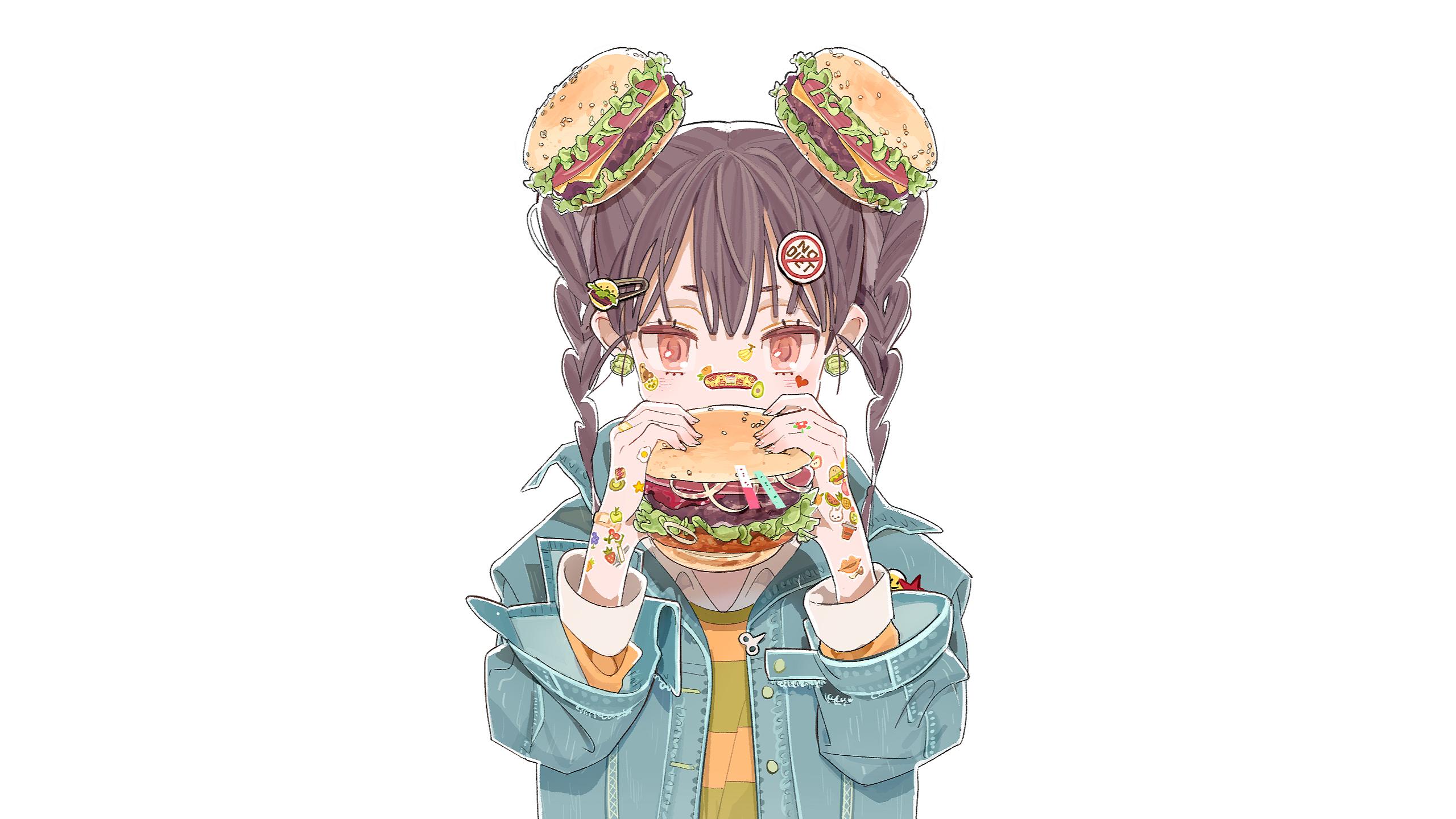 Anime 2560x1440 anime anime girls white background original characters anime girls eating hamburgers red eyes