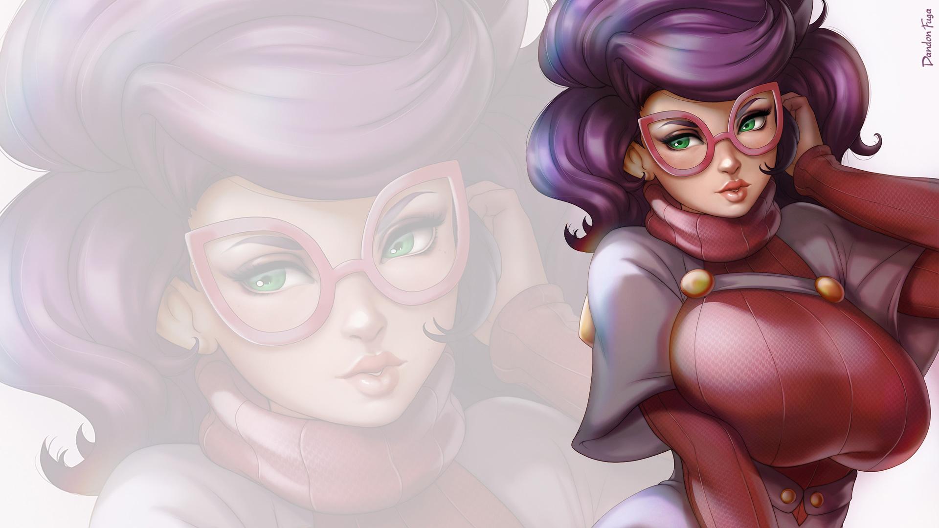 Anime 1920x1080 dandon fuga Wicke (Pokémon Sun and Moon) purple hair glasses