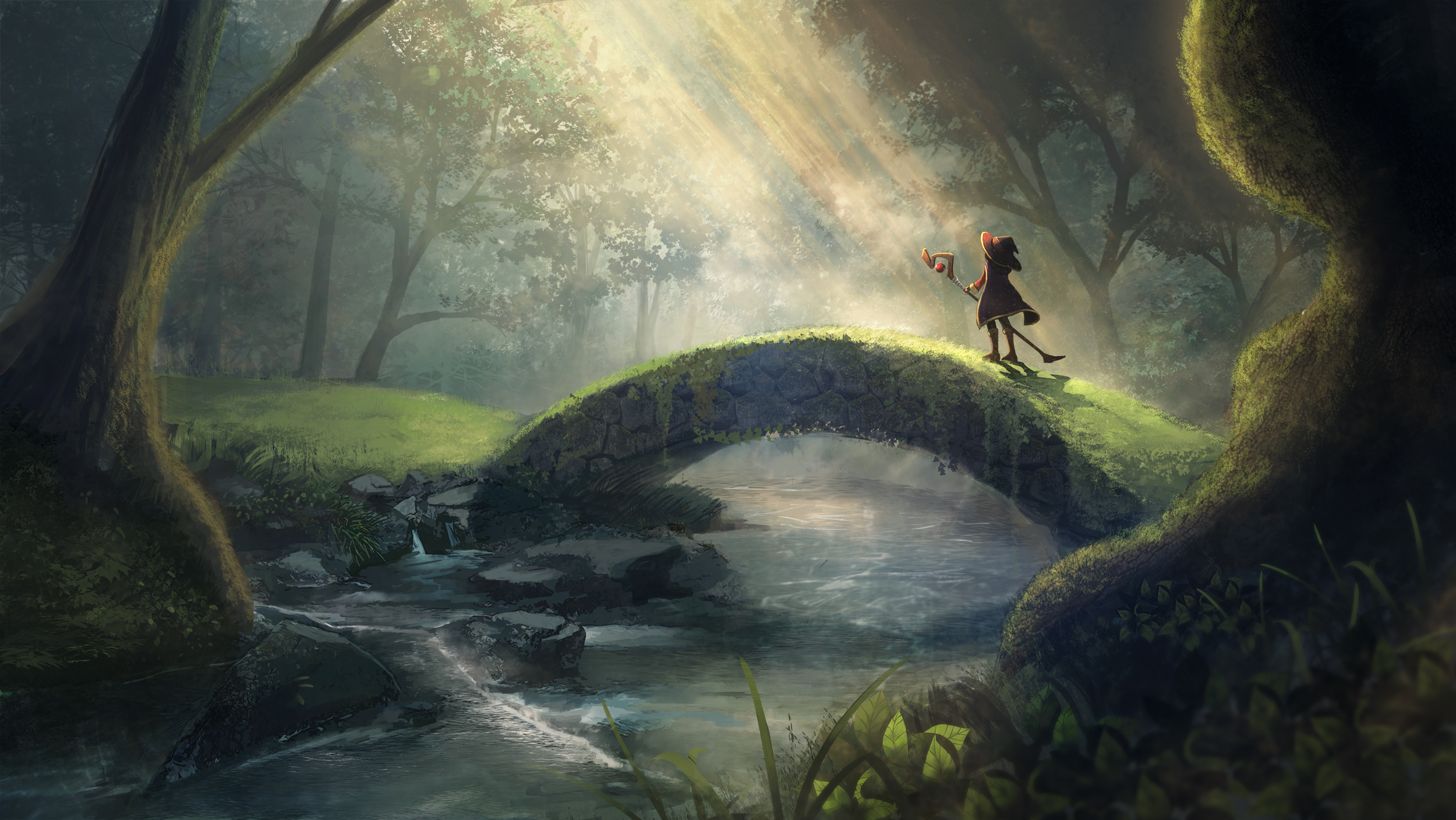 Anime 2500x1407 Kono Subarashii Sekai ni Shukufuku wo! Megumin nature forest bridge river anime girls sunlight digital art trees