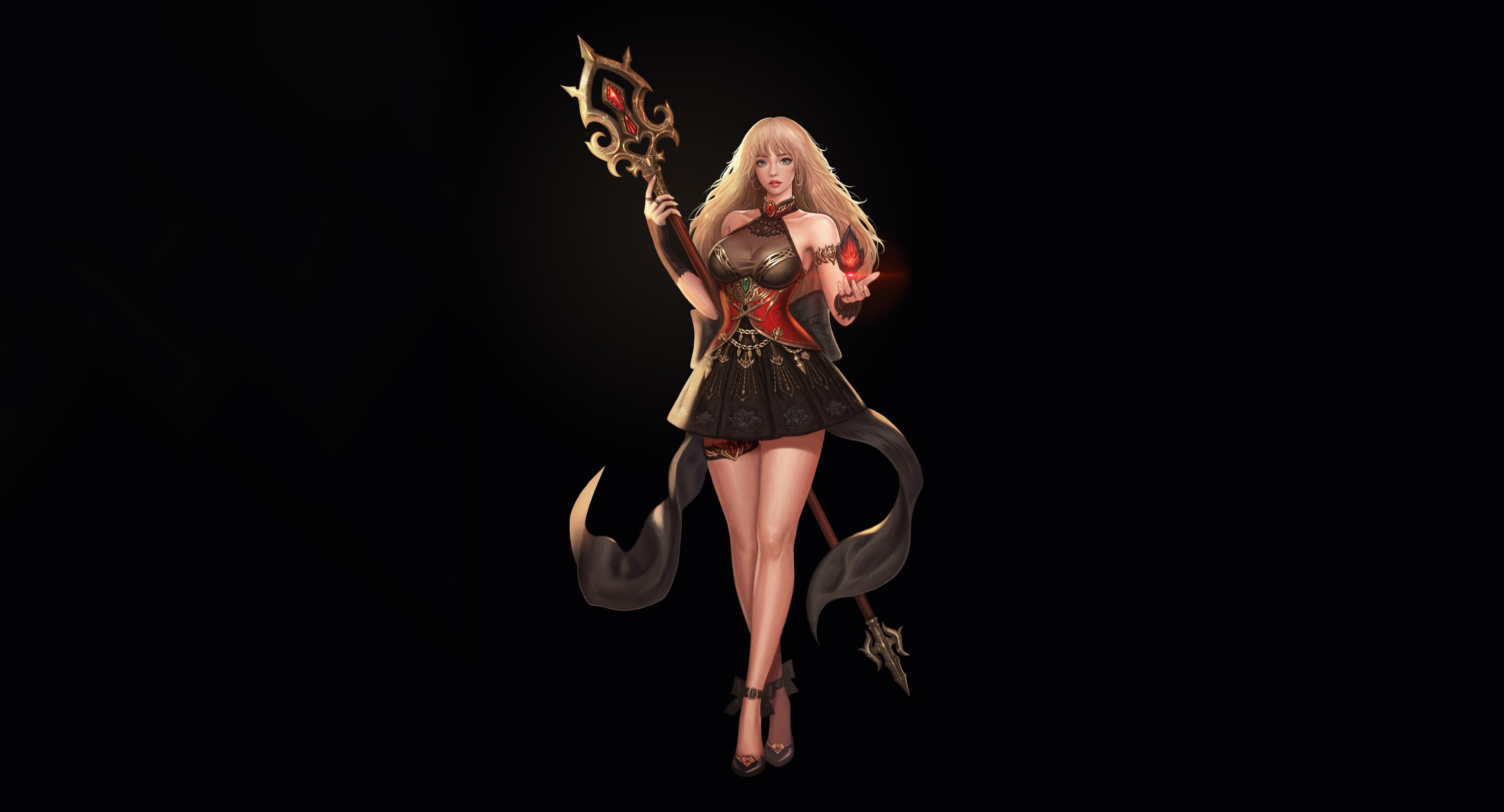 General 5000x2700 simple background blonde legs fantasy art fantasy girl