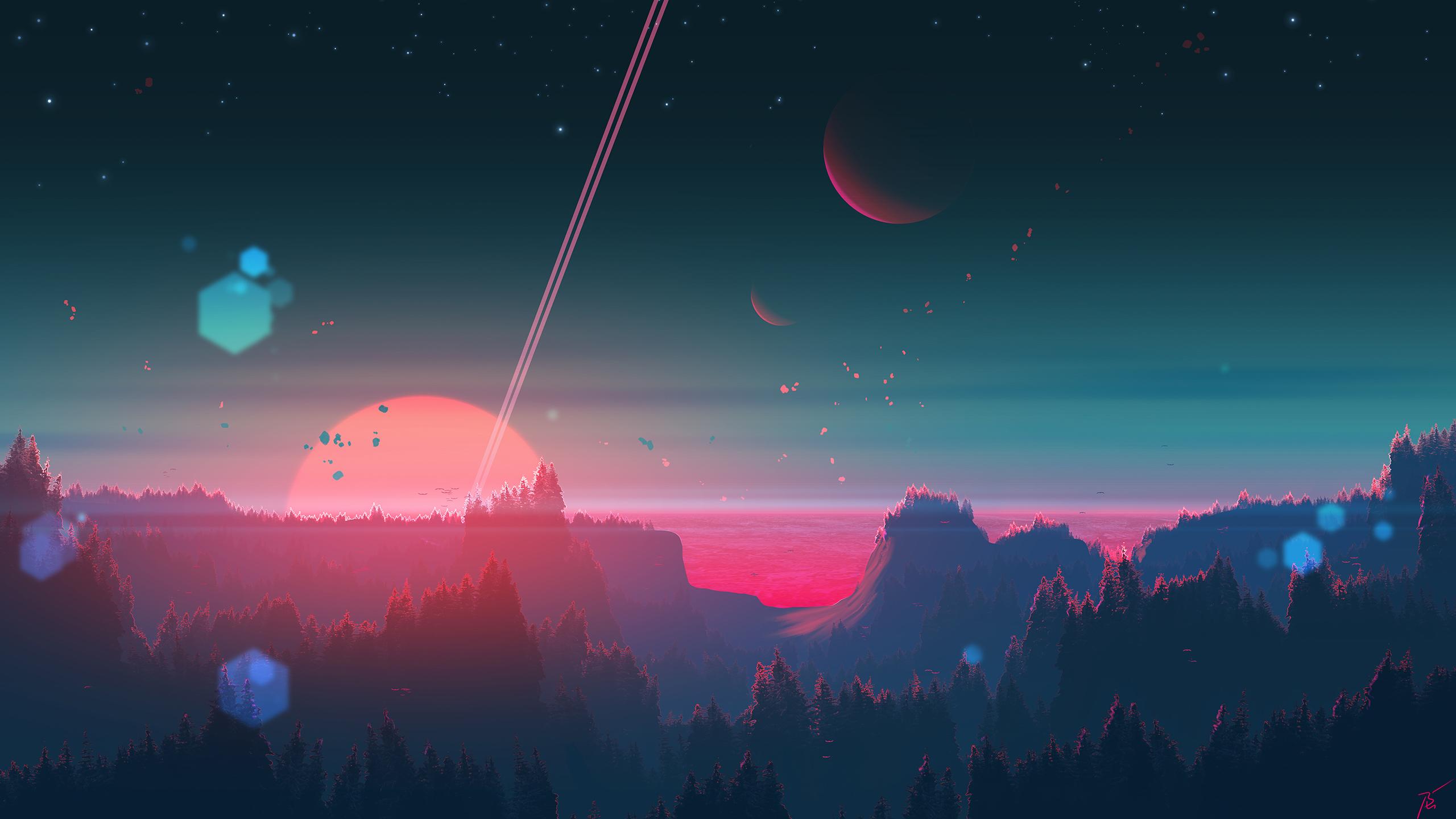 General 2560x1440 space art digital painting sky dystopian fantasy art landscape nature planet JoeyJazz
