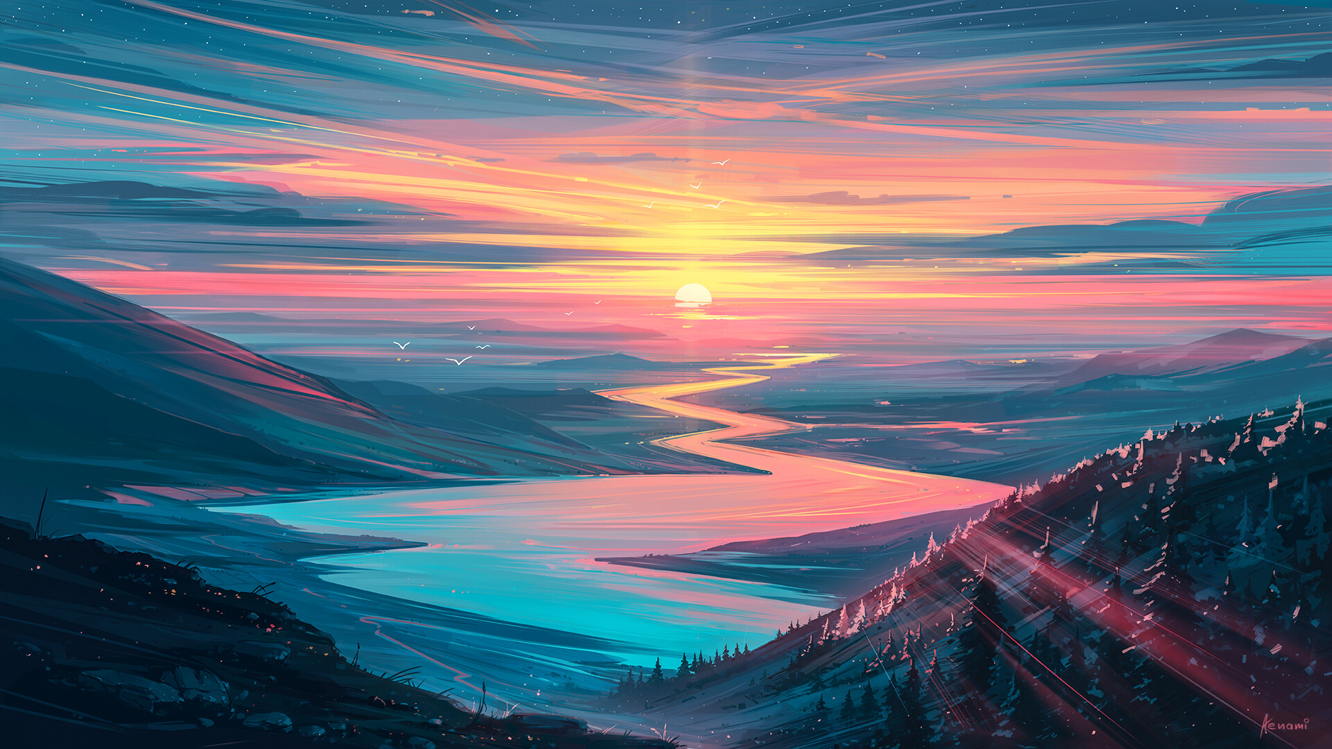 General 1920x1080 digital art artwork Aenami sunset mountains