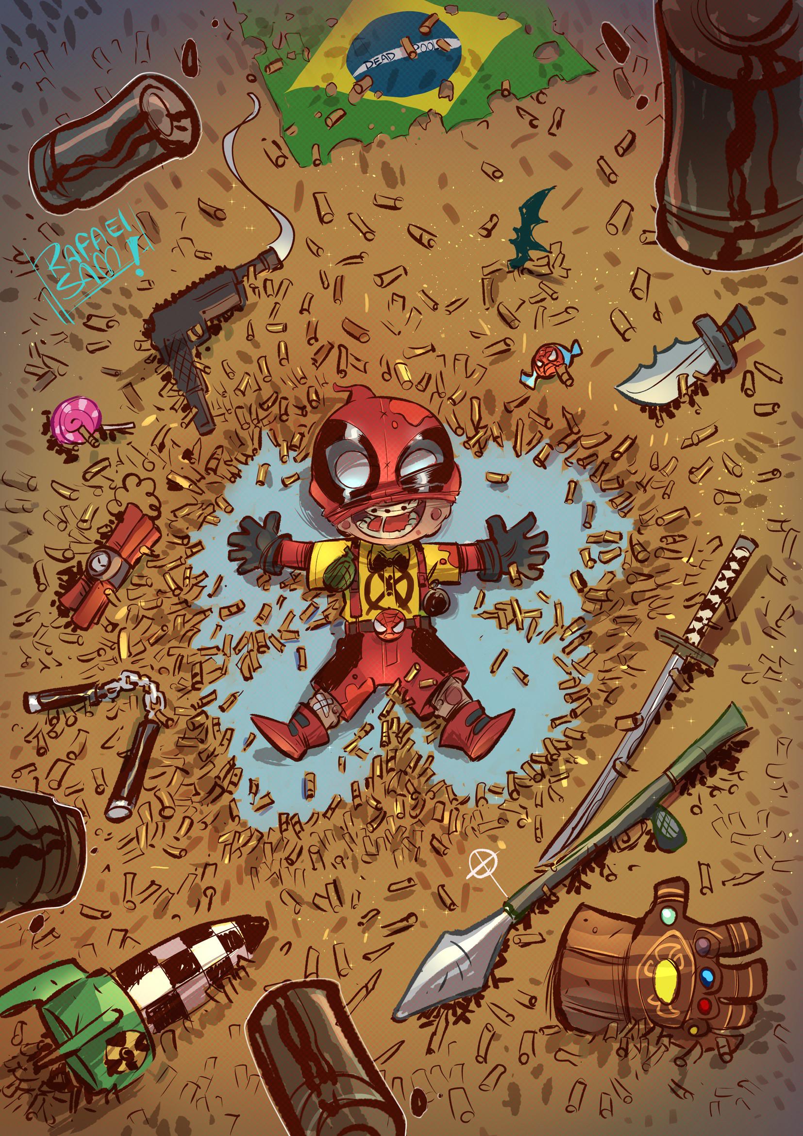 General 1654x2339 Rafael Sam illustration Marvel Comics Deadpool children gun rocket launchers gloves bullet Skottie Young