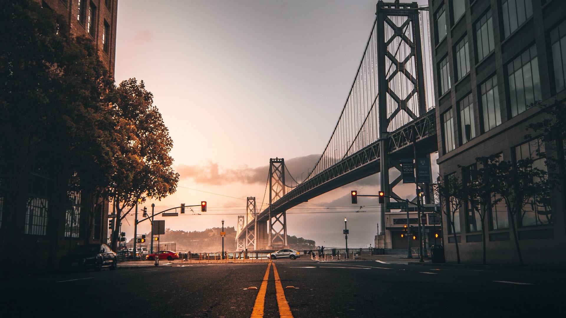 General 1920x1080 road bridge San Francisco street traffic lights street light California