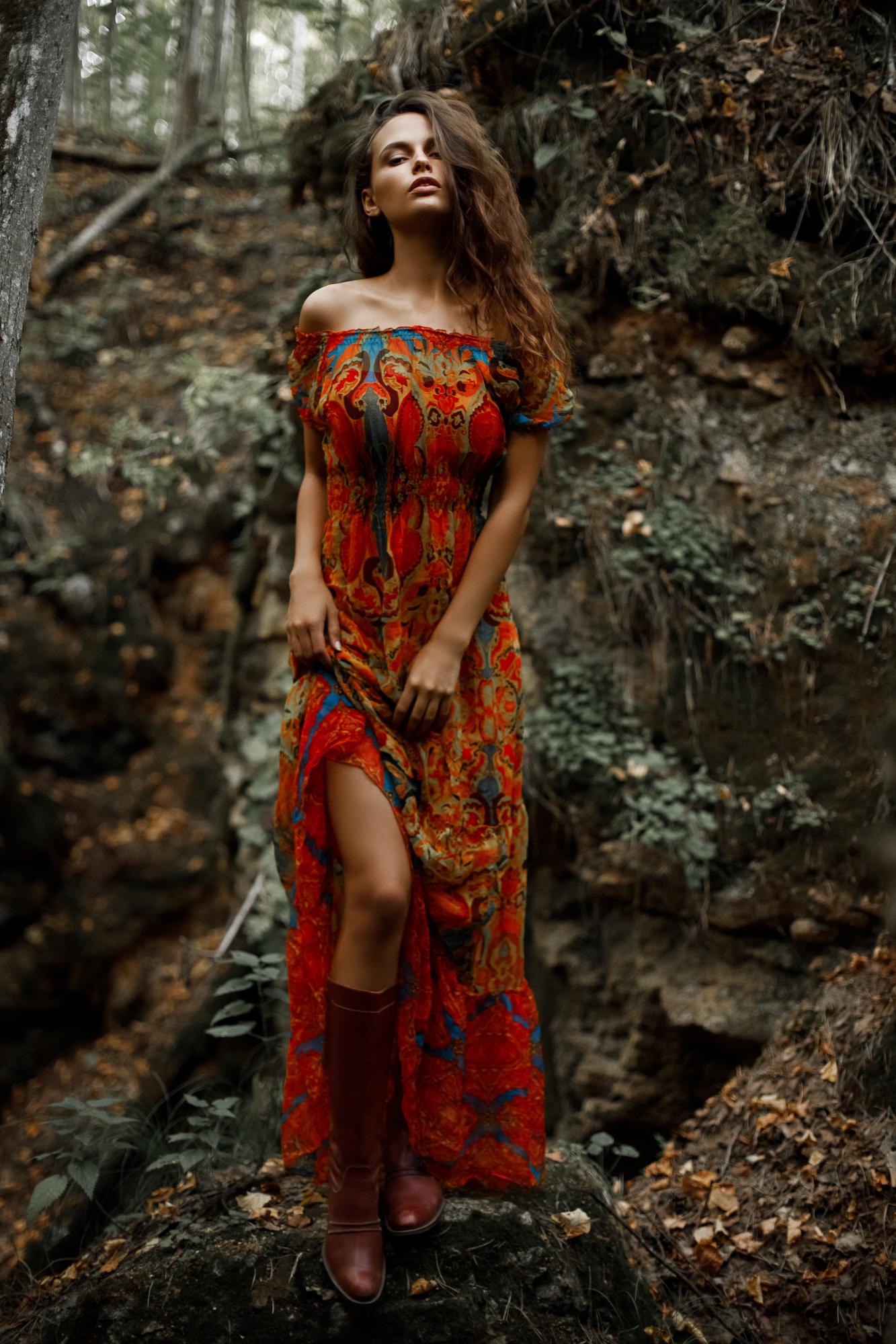 People 1333x2000 Alexander Sasin Lilia model women brunette women outdoors long skirt long hair bare shoulders strapless dress red dress portrait display