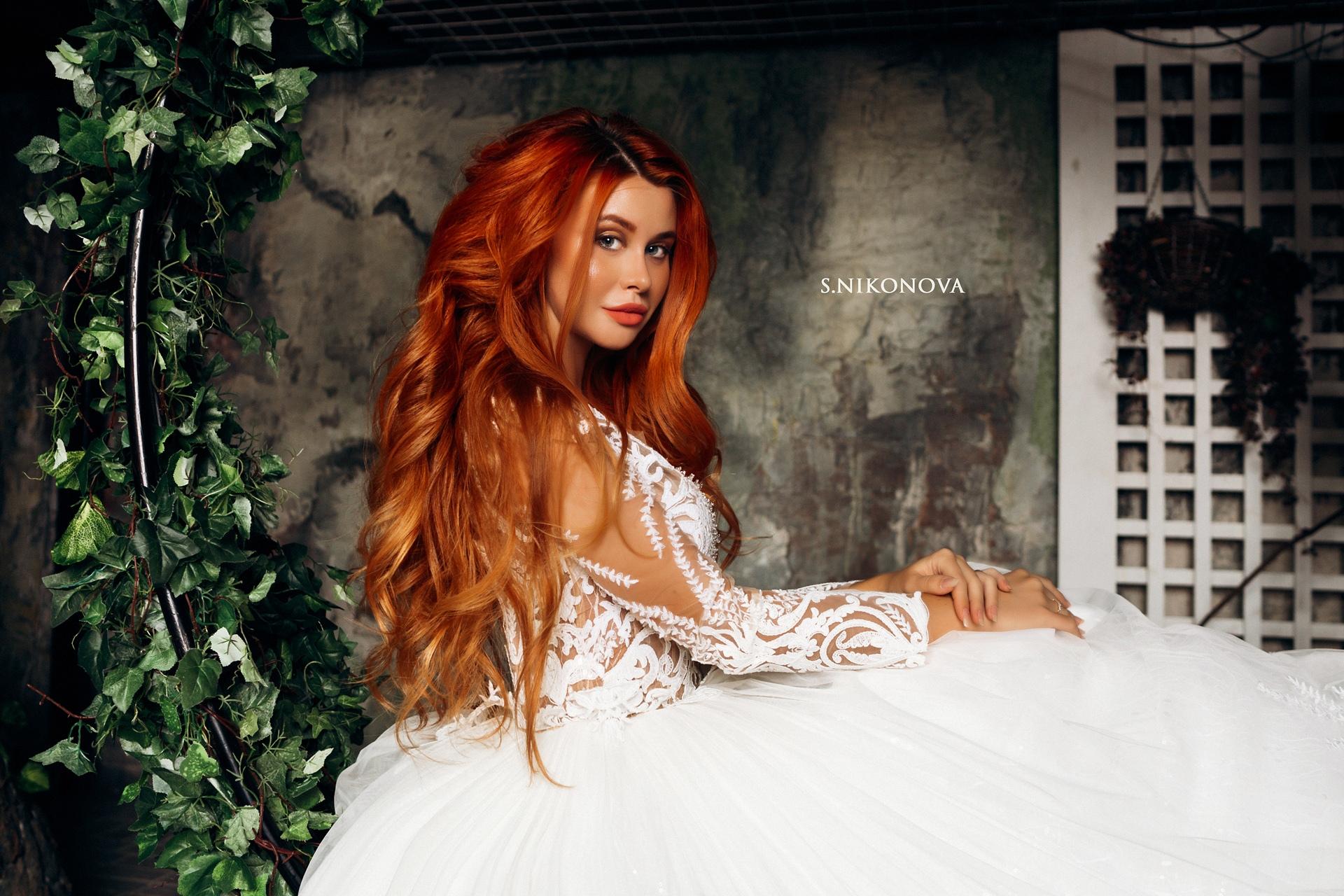 People 1920x1280 Dana Bounty women model redhead portrait wedding dress white dress indoors looking at viewer women indoors Svetlana Nikonova long hair