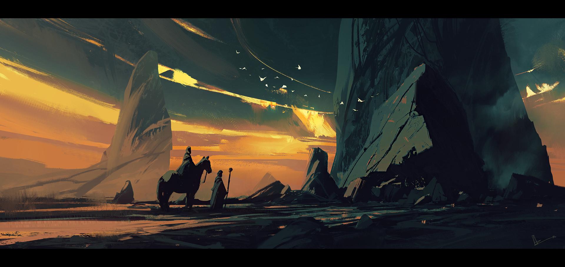 General 1920x907 artwork digital art desert rocks