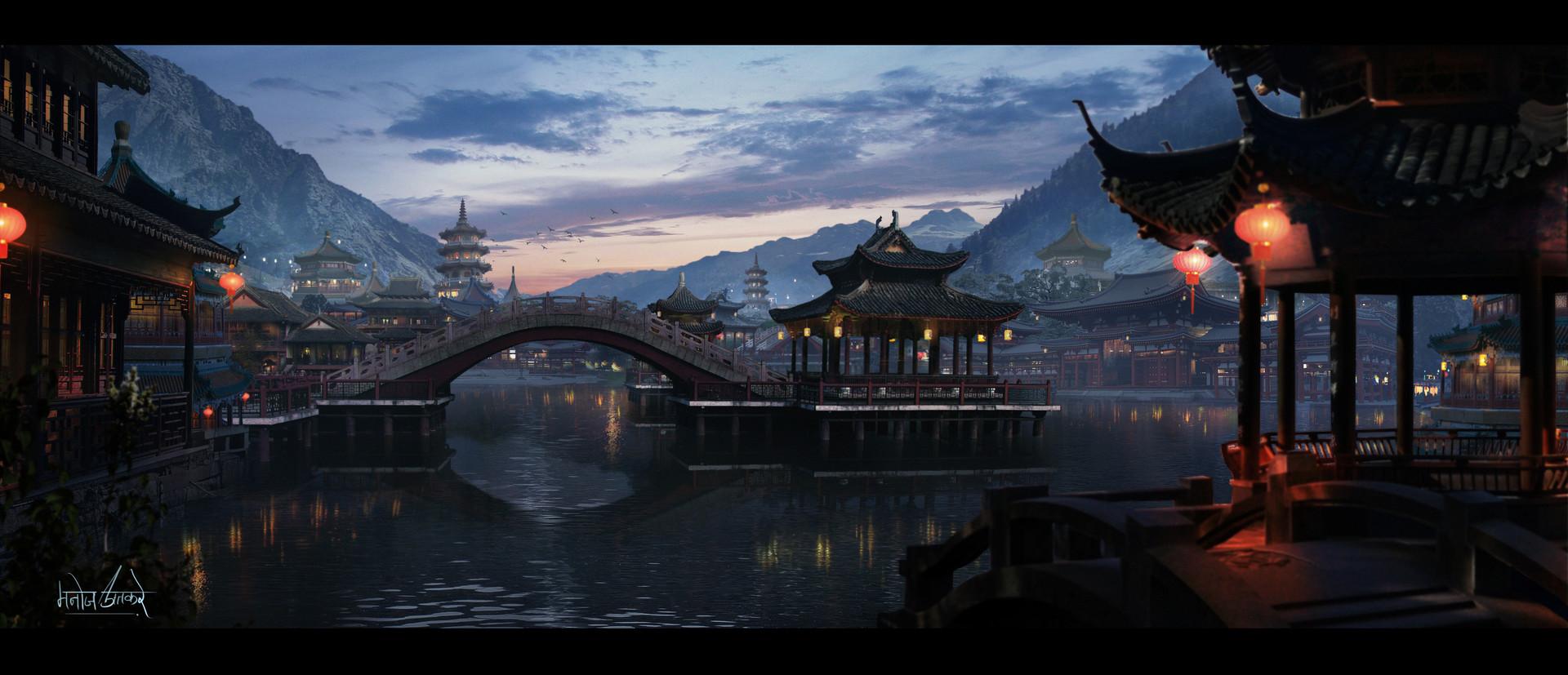 General 1920x827 artwork digital art city Asia Asian architecture water river bridge mountains lantern Chinese lantern