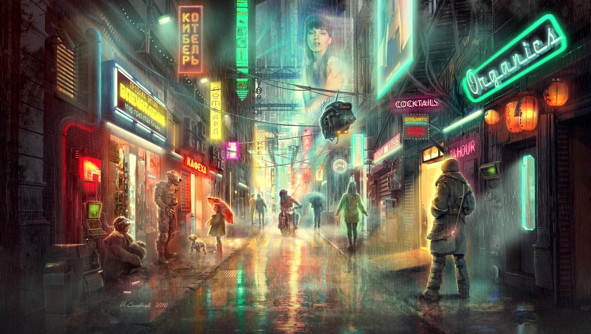 General 1920x1086 artwork fantasy art steampunk city street neon rain futuristic