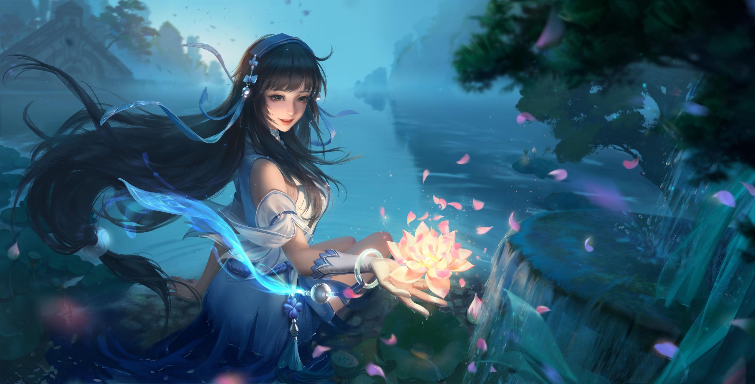 Anime 2560x1303 anime anime girls fantasy art fantasy girl long hair nature dark hair flowers Xi Shi Chinese character Chinese clothing