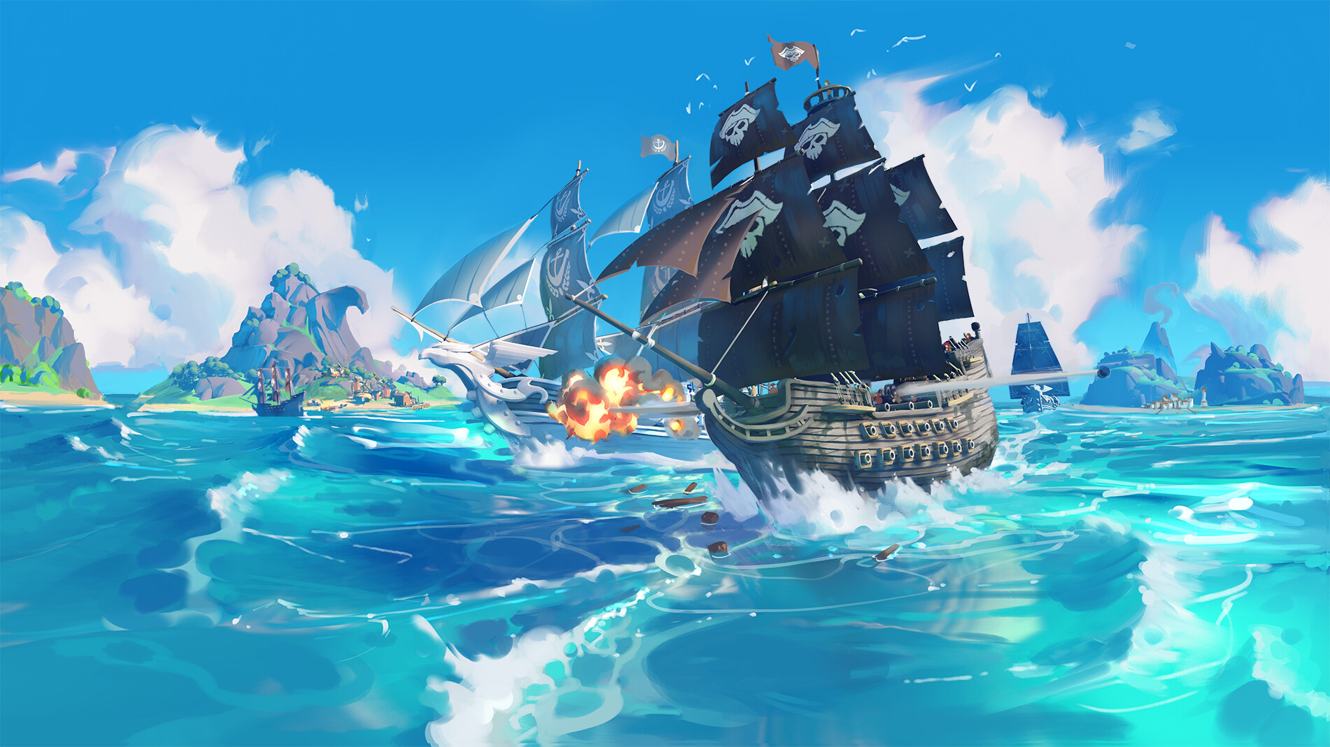General 1901x1069 Roberto Gatto digital art pirates ship waves sea island clouds birds flag planks