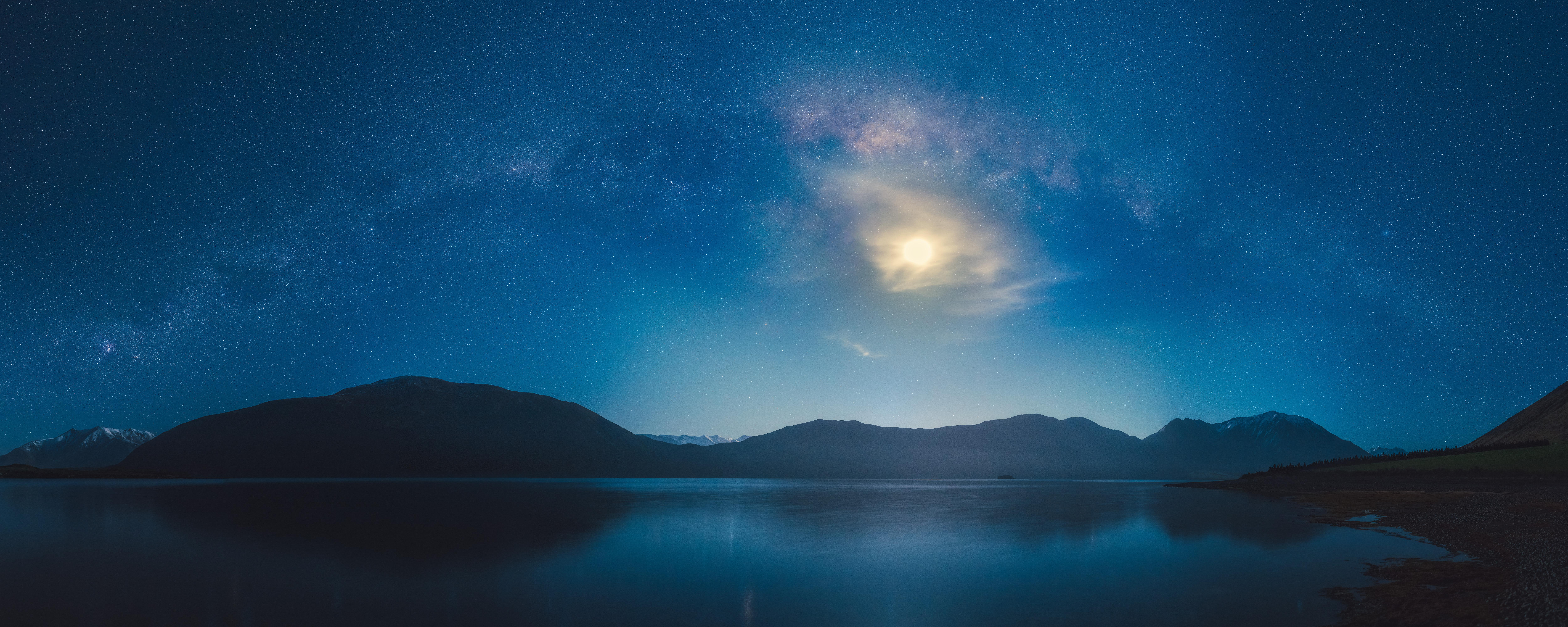 General 10000x4000 mountains lake Moon night night sky long exposure