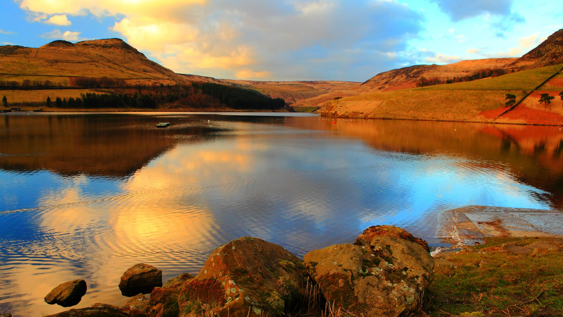 General 1920x1080 nature landscape rocks water moss mountains clouds sky water ripples Manchester England UK Dovestone Reservoir