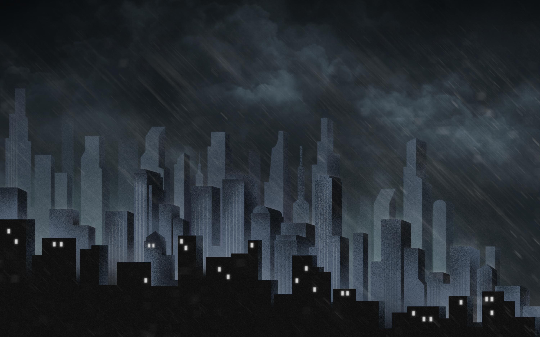 General 3000x1875 artwork building skyscraper clouds storm rain city cityscape dark