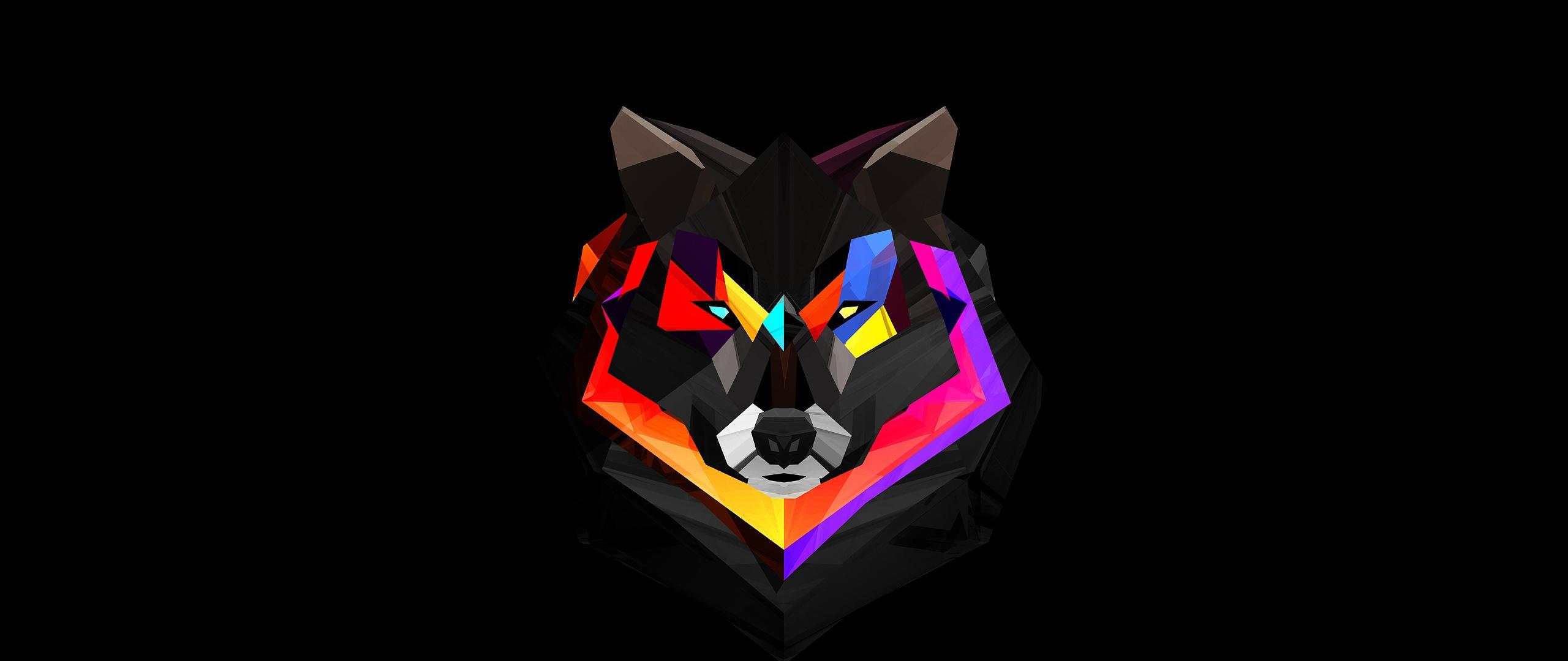 General 2560x1080 wolf red digital art artwork simple background Facets