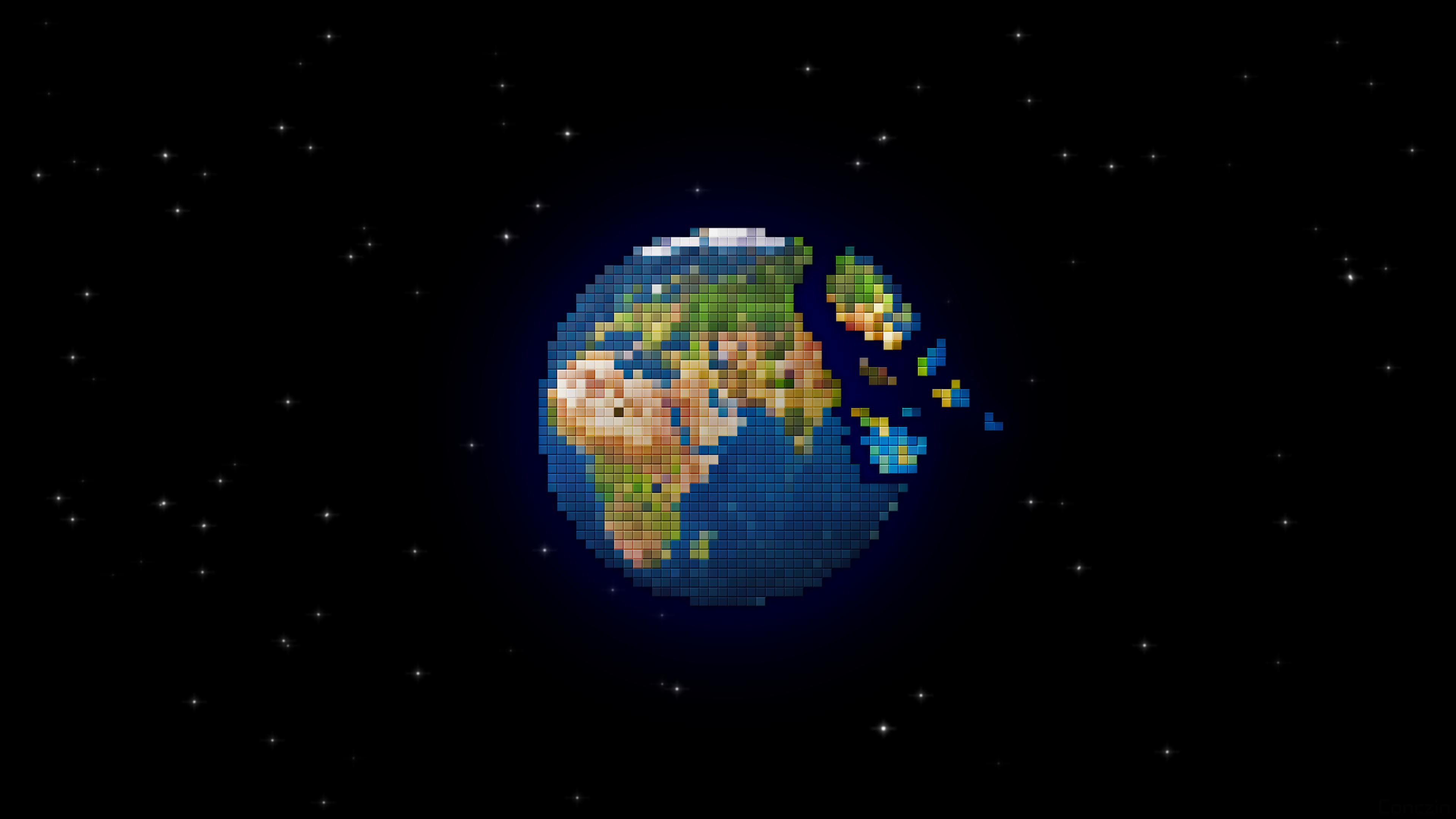 General 3840x2160 digital art space stars black Earth planet pixels pixel art pixelated simple background square minimalism