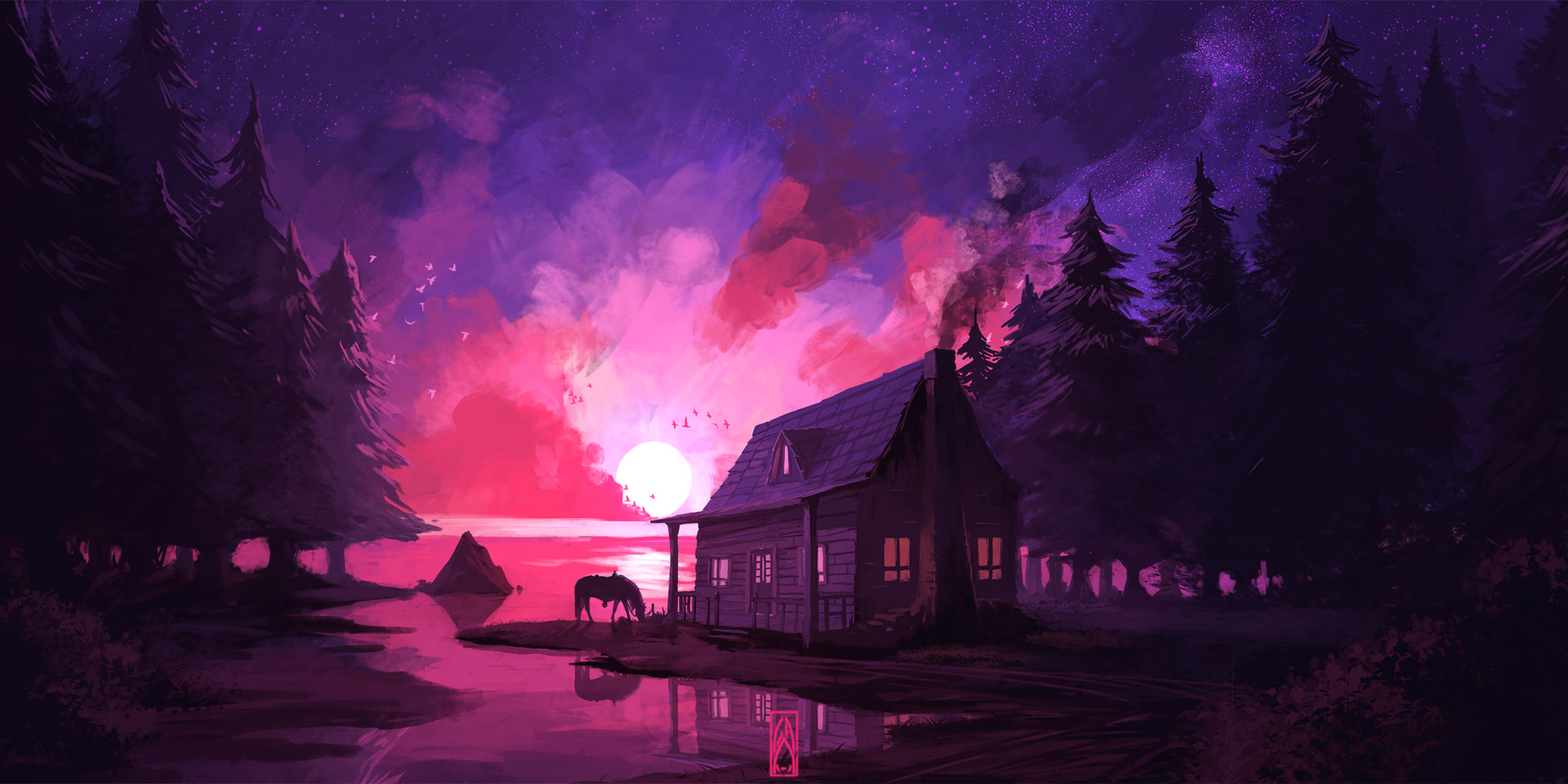 General 1920x960 Gustavo Arteaga concept art landscape night house forest purple pink lake water horse Moon road