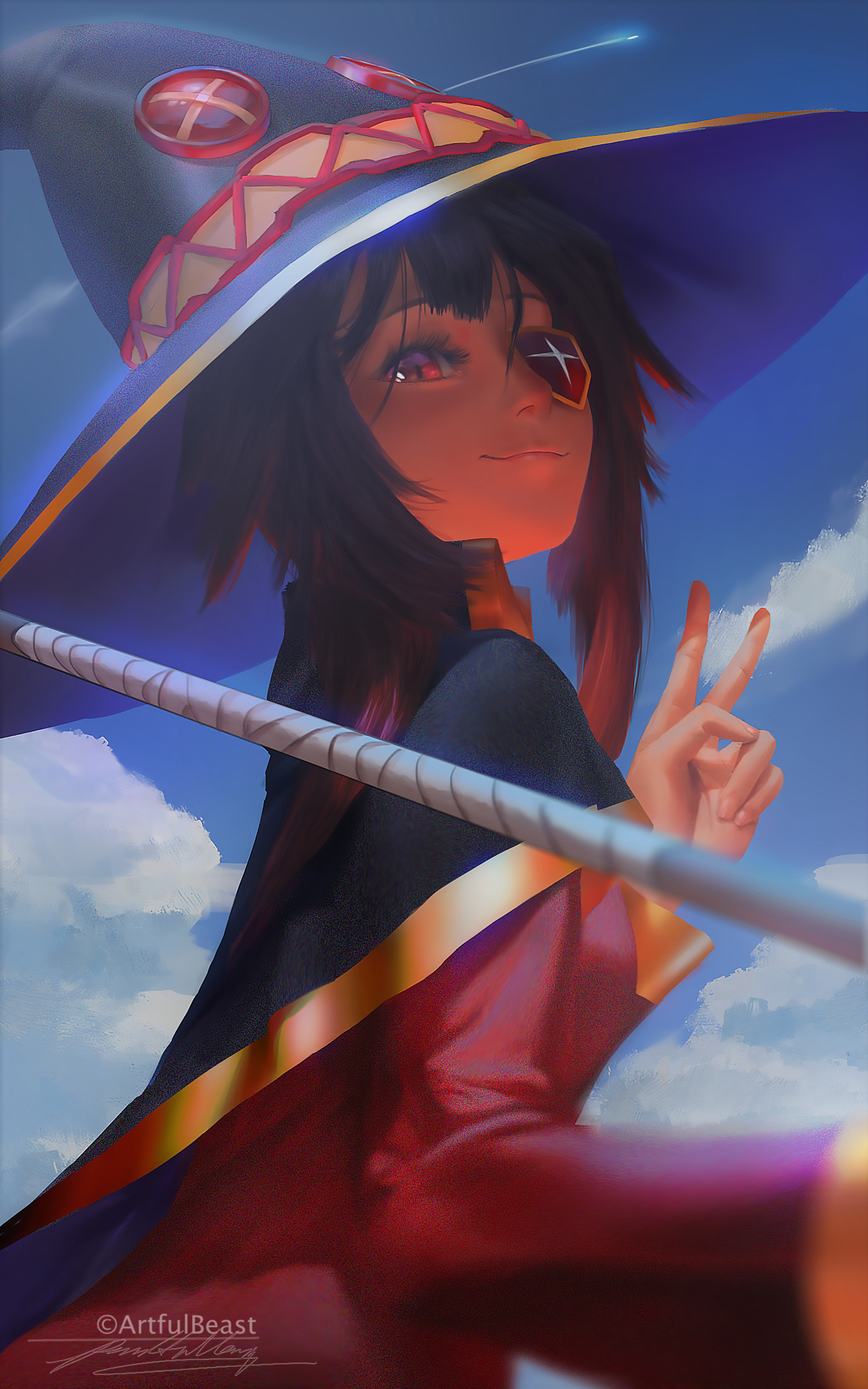 Anime 1500x2400 Kono Subarashii Sekai ni Shukufuku wo! anime girls brunette short hair witch hat eye patch fantasy weapon digital art Megumin fan art red eyes Paul Nong