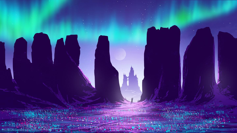 General 1440x810 artwork digital art rocks Moon sky night stars aurorae
