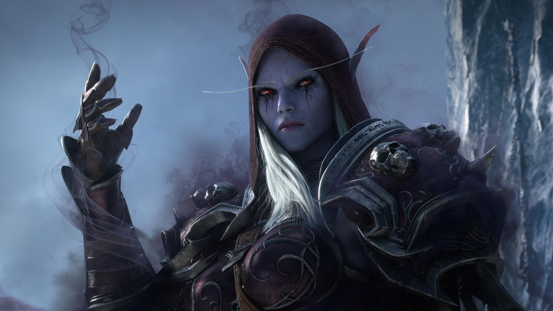 General 1920x1080 World of Warcraft: Shadowlands Sylvanas Windrunner elven pointy ears red eyes women white hair hoods World of Warcraft Warcraft video games