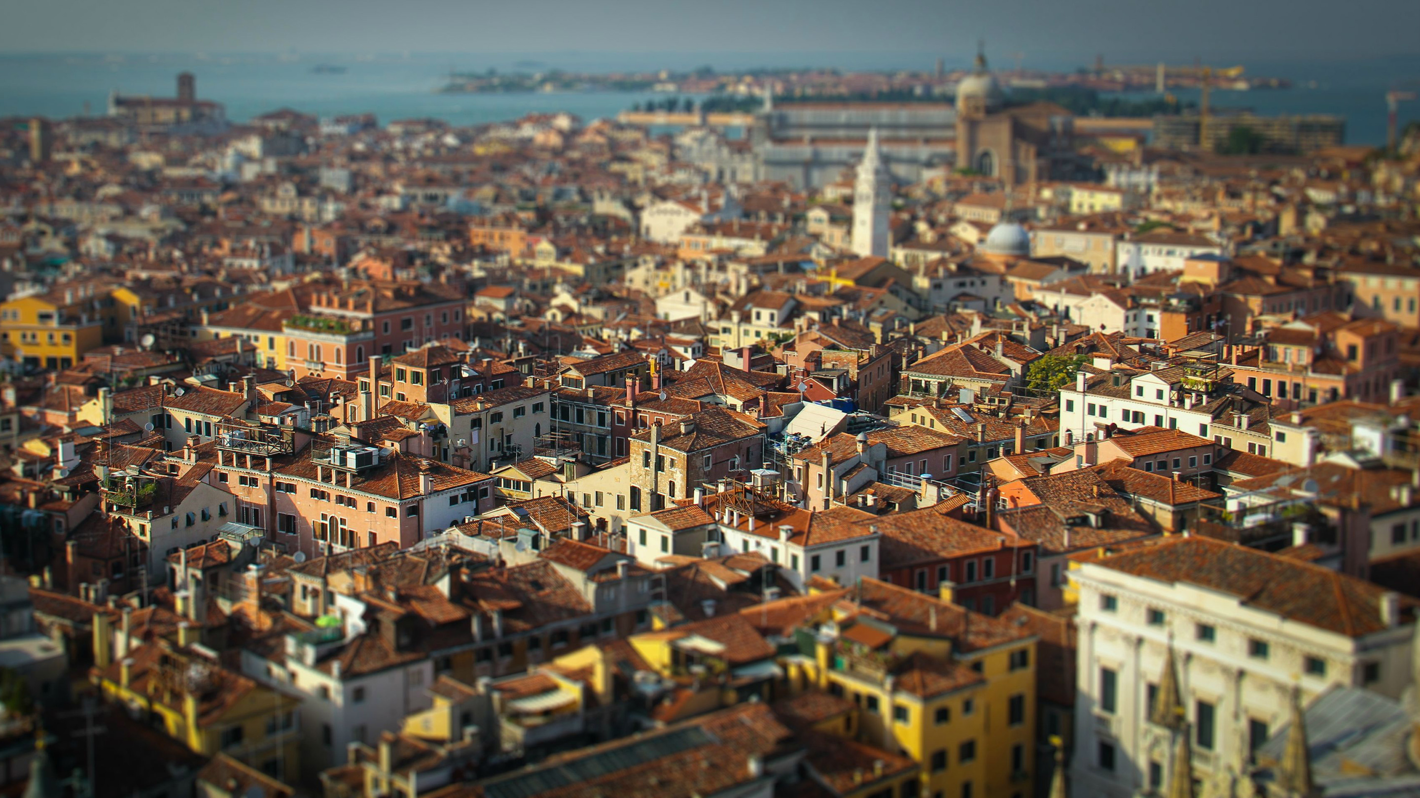 General 2880x1620 cityscape rooftops tilt shift Venice Italy old building miniature effect