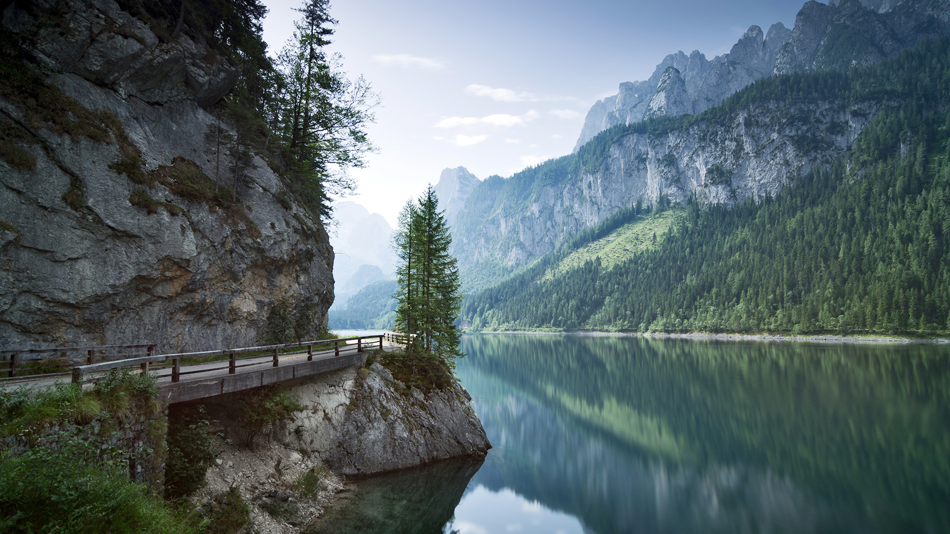 General 1920x1080 nature landscape trees forest plants road river mountains sky clouds bridge reflection rocks Dachstein Mountains Austria
