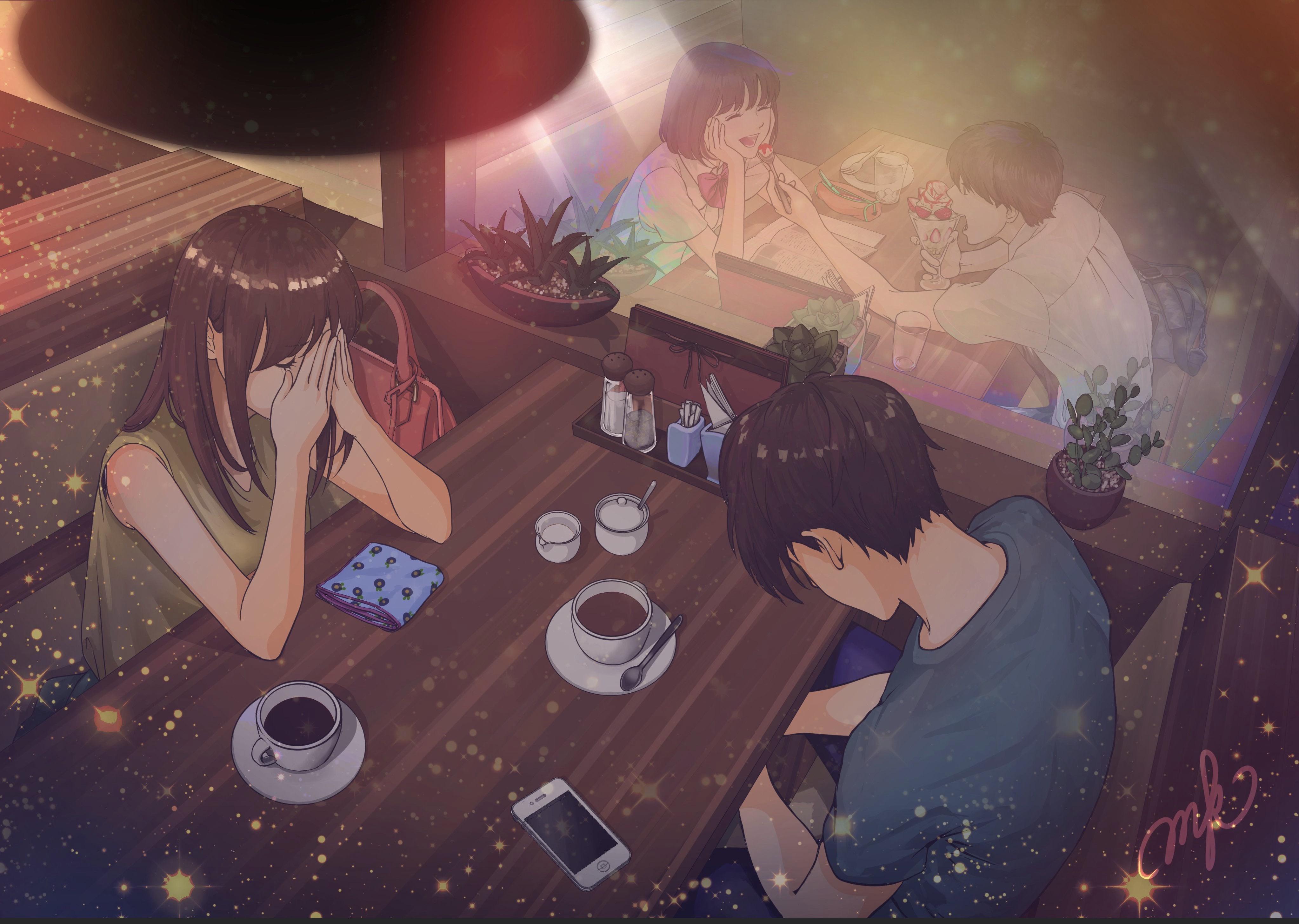 Anime 4092x2912 anime couple cafe sadness eating sitting restaurant anime girls anime boys cup smartphone MacaronK high angle