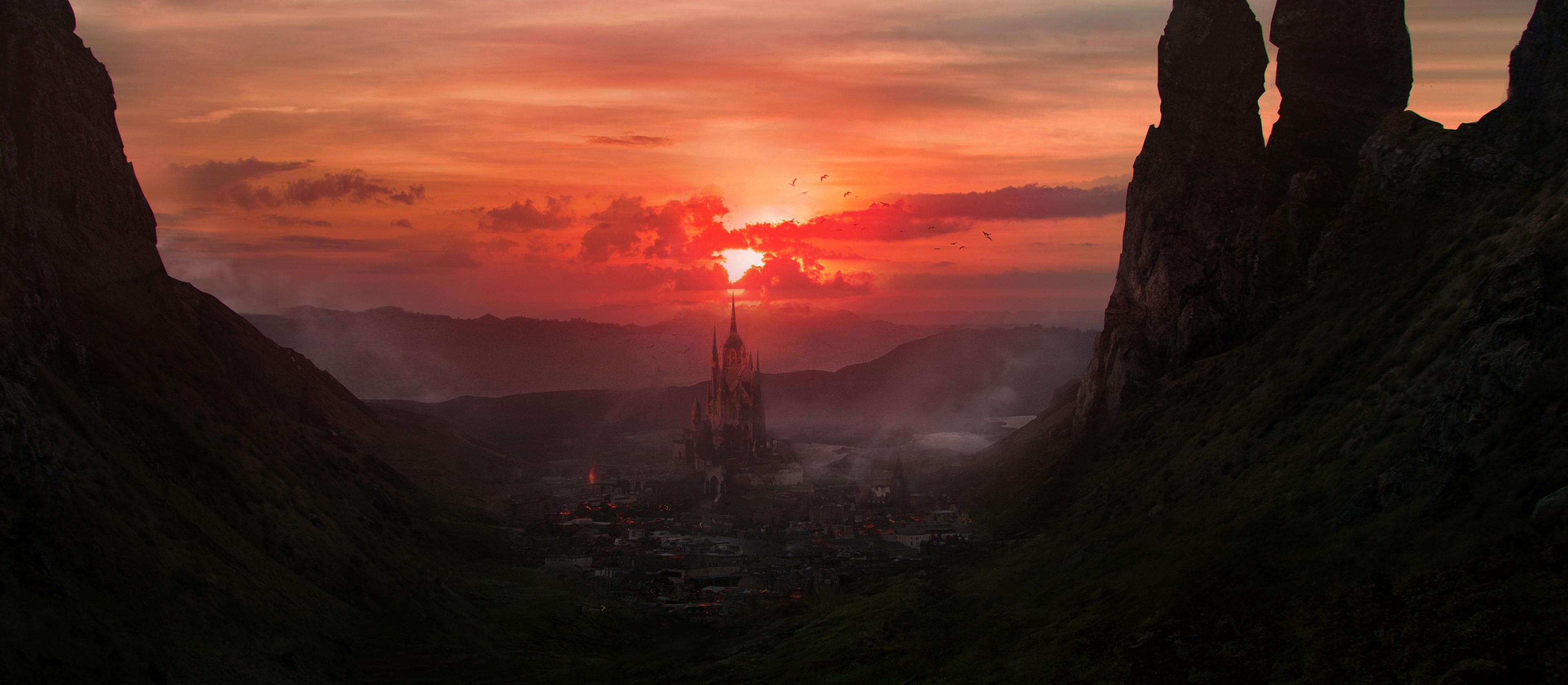 General 3840x1677 Santa Norvaisaite digital fantasy city Sun artwork sky sunlight dark