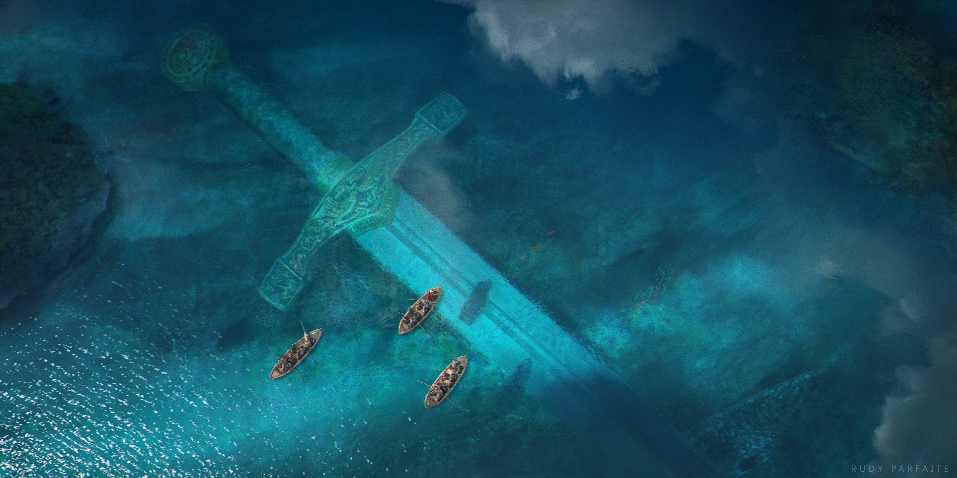 General 3840x1920 water canoes Rudy Parfaite turquoise boat sword watermarked fantasy art