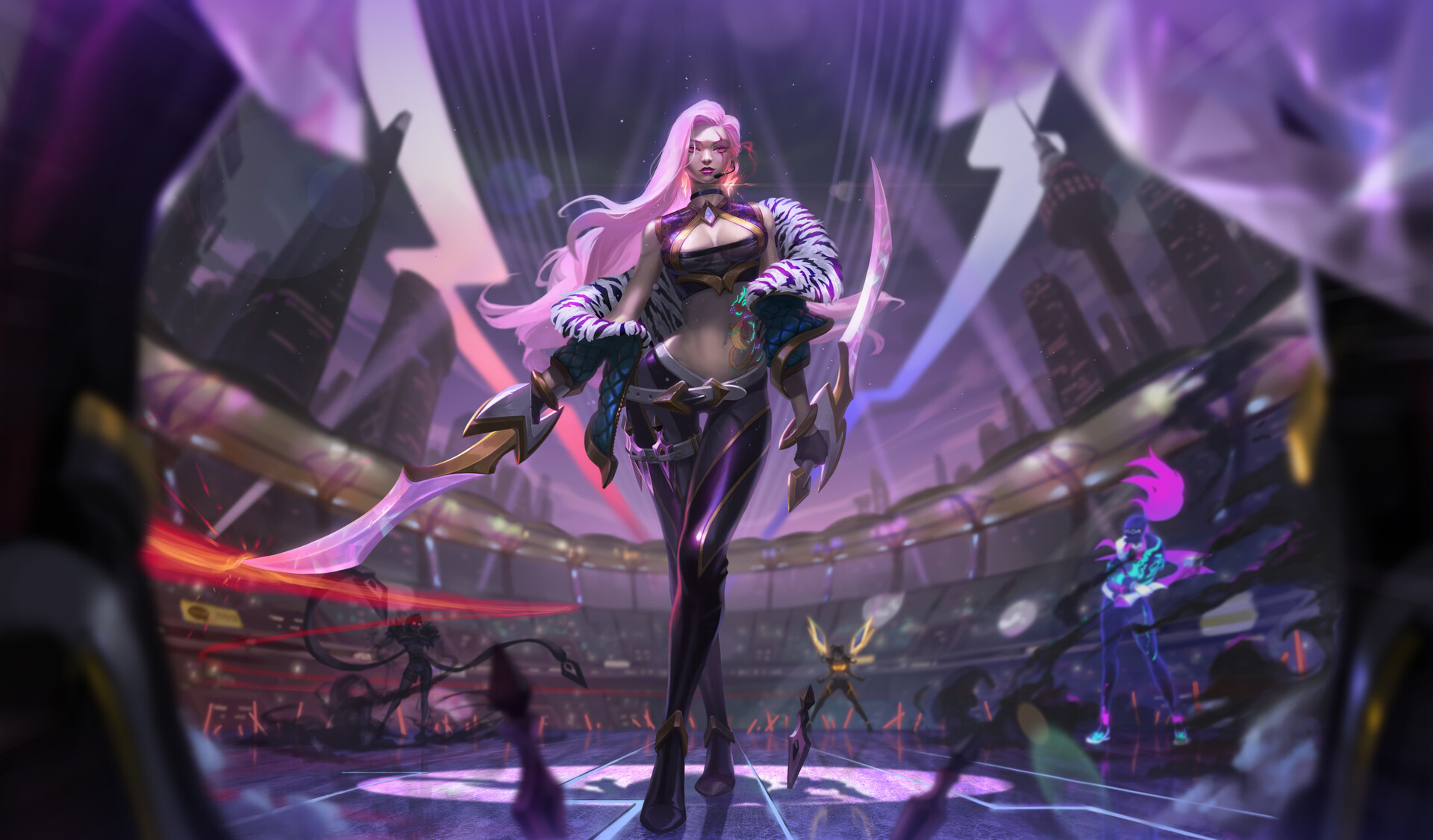 General 1920x1126 katarina (league of legends) League of Legends video games K/DA pink hair long hair PC gaming weapon belly button belly bare midriff