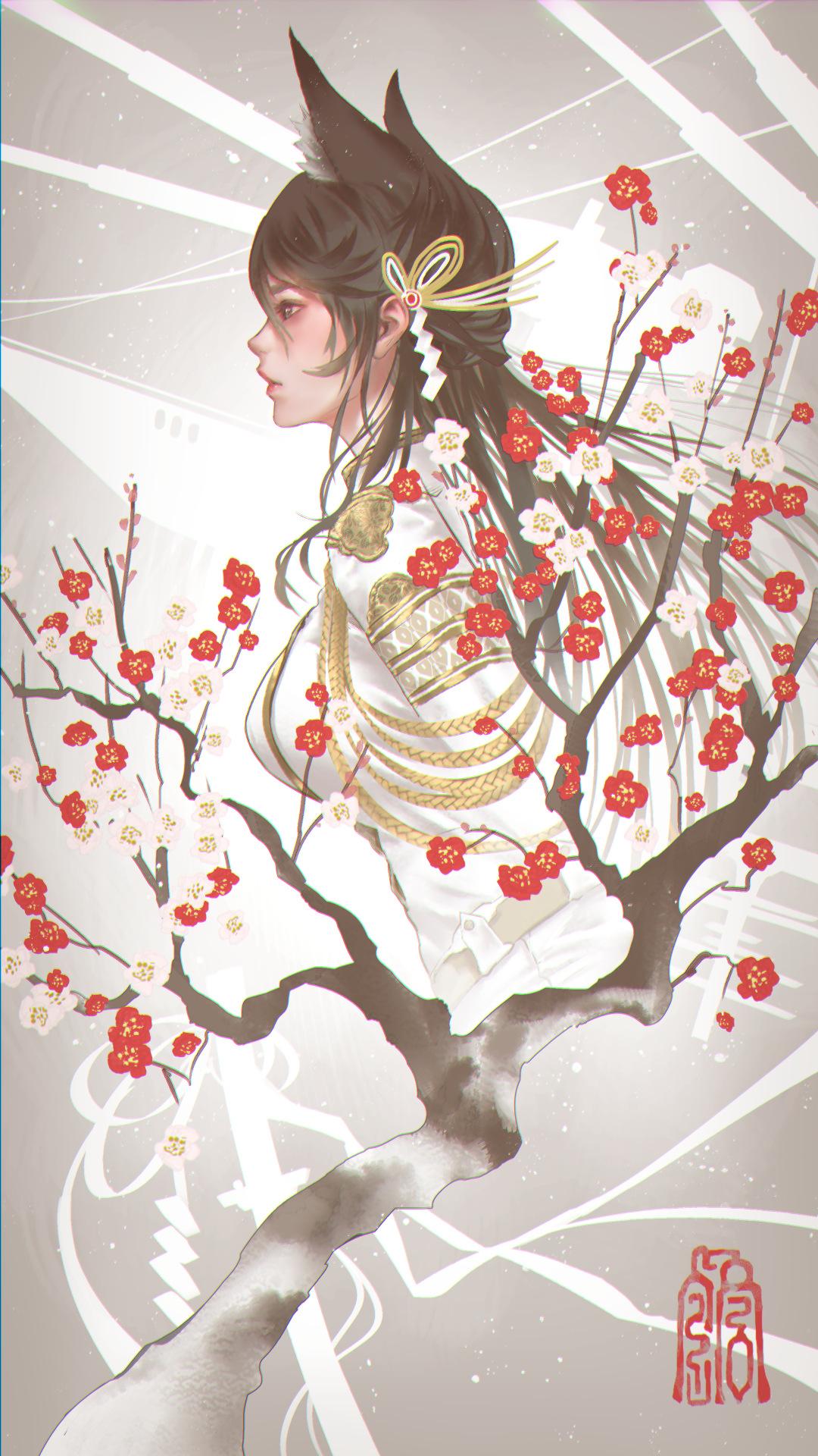 Anime 1080x1920 Atago (Azur Lane) Azur Lane women brunette long hair profile fox girl foxy ears animal ears Military Uniform branch cherry blossom fan art anime girls fantasy girl fantasy art artwork digital art drawing illustration 2D painting digital painting Kaburagi Yasutaka