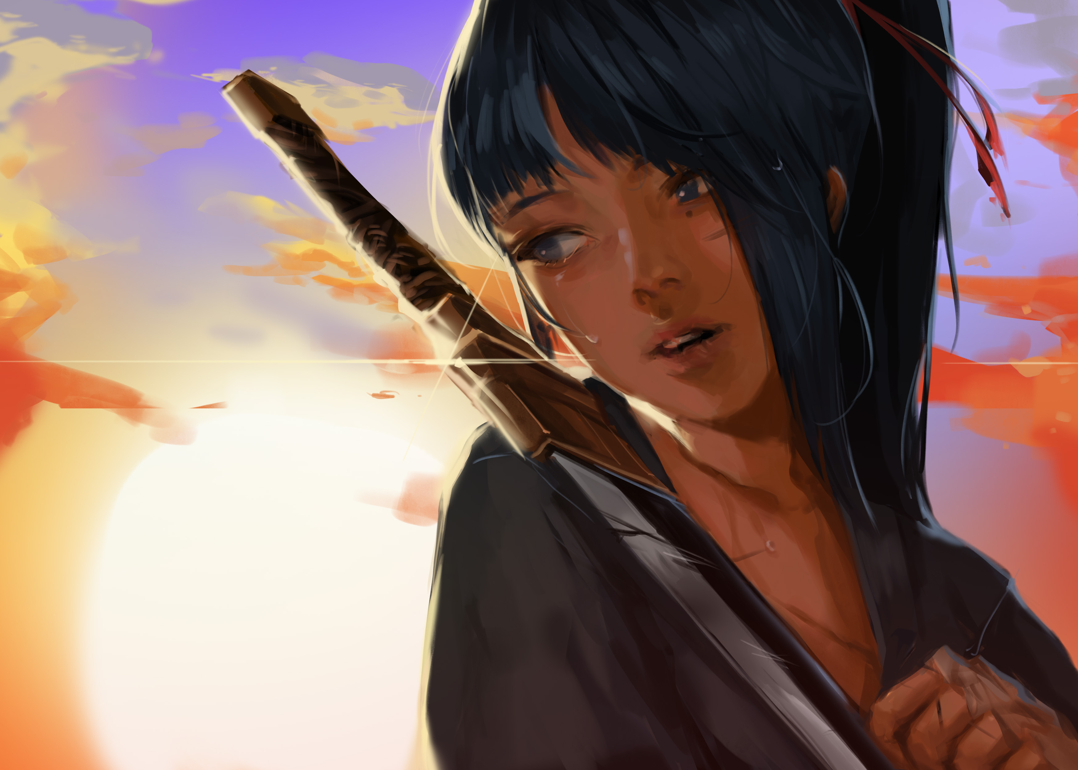 Anime 3500x2500 women looking away crying tears dark blue hair ponytail samurai katana sunset clouds portrait original characters anime girls artwork drawing 2D illustration digital art painting digital painting anime