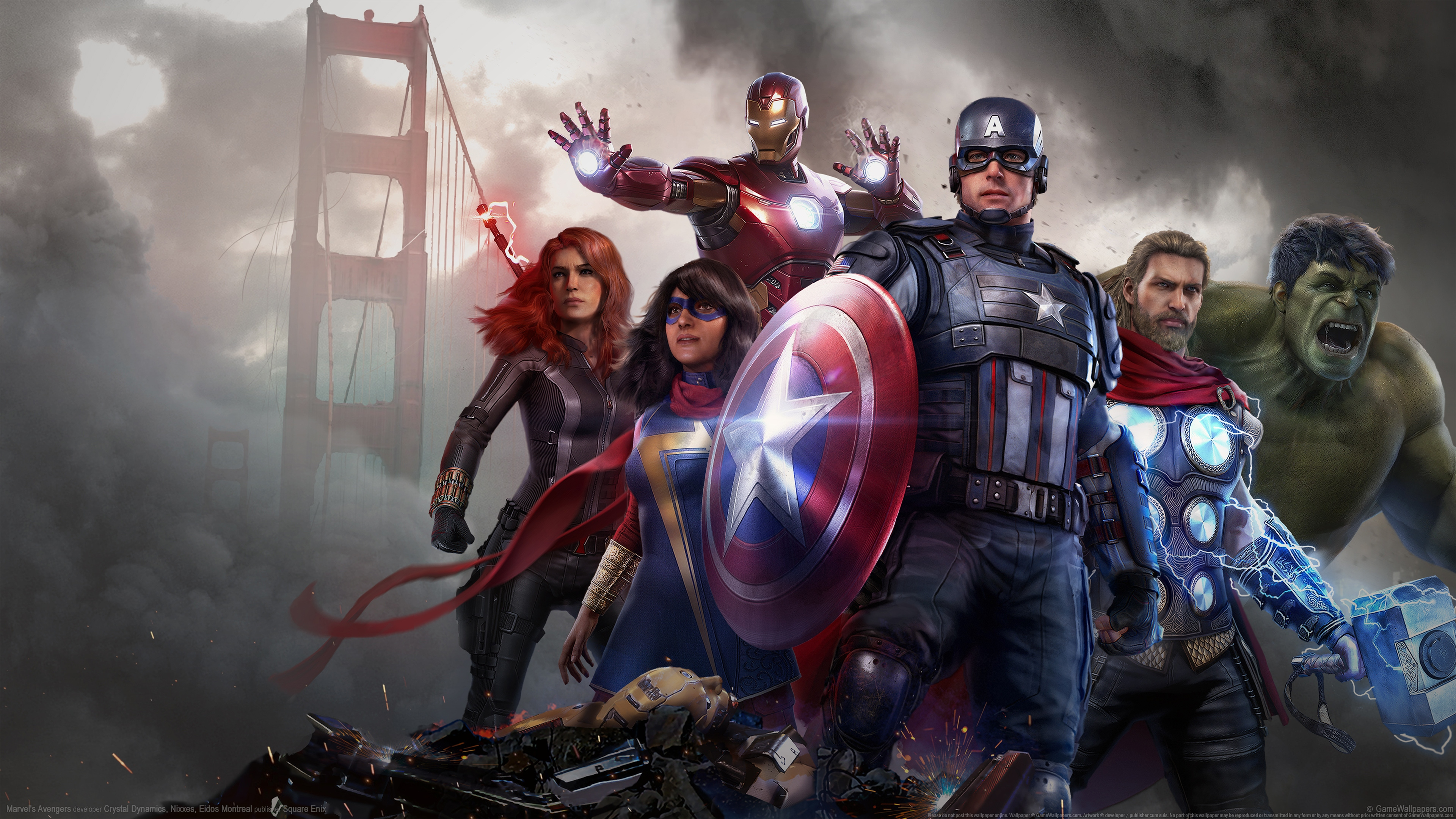 General 3840x2160 Marvel's Avengers video games video game art digital art Hulk Captain America Black Widow Iron Man Thor bridge Ms. Marvel