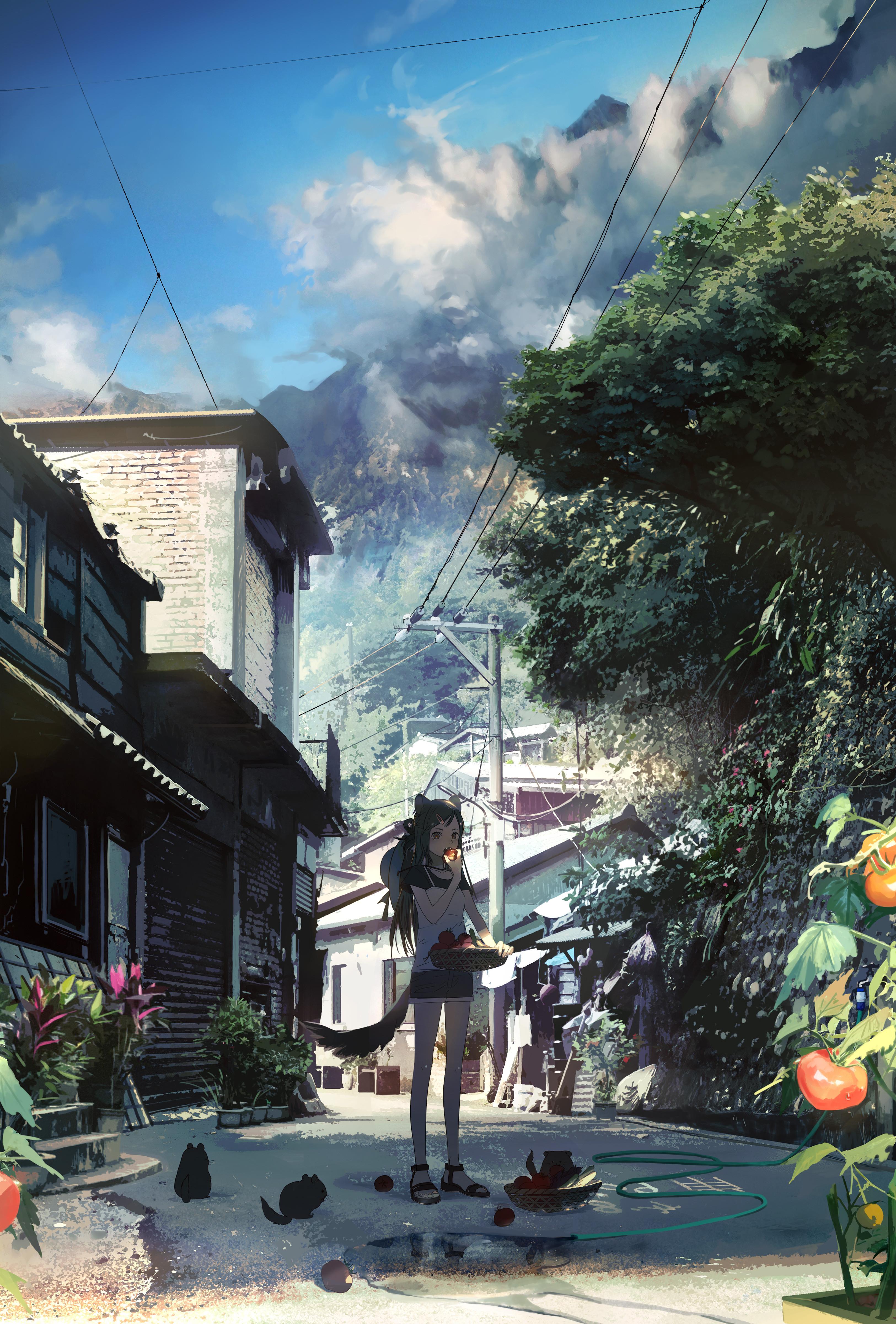 Anime 3250x4800 anime anime girls urban plants Asia