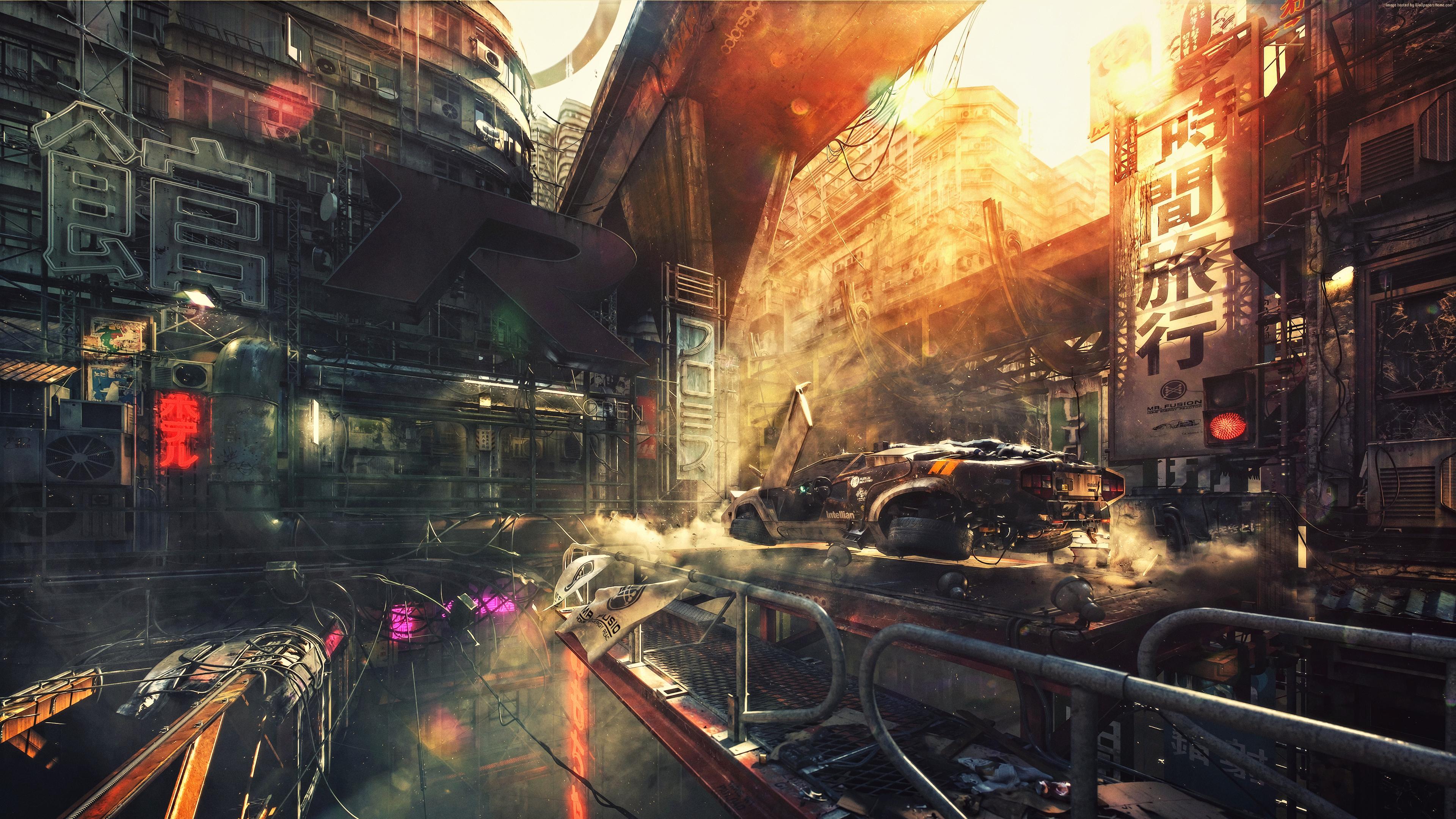 General 3840x2160 science fiction digital art concept art artwork futuristic fantasy art fan art 3D CGI sunset spaceship cyberpunk cyber city Countach Lamborghini Countach