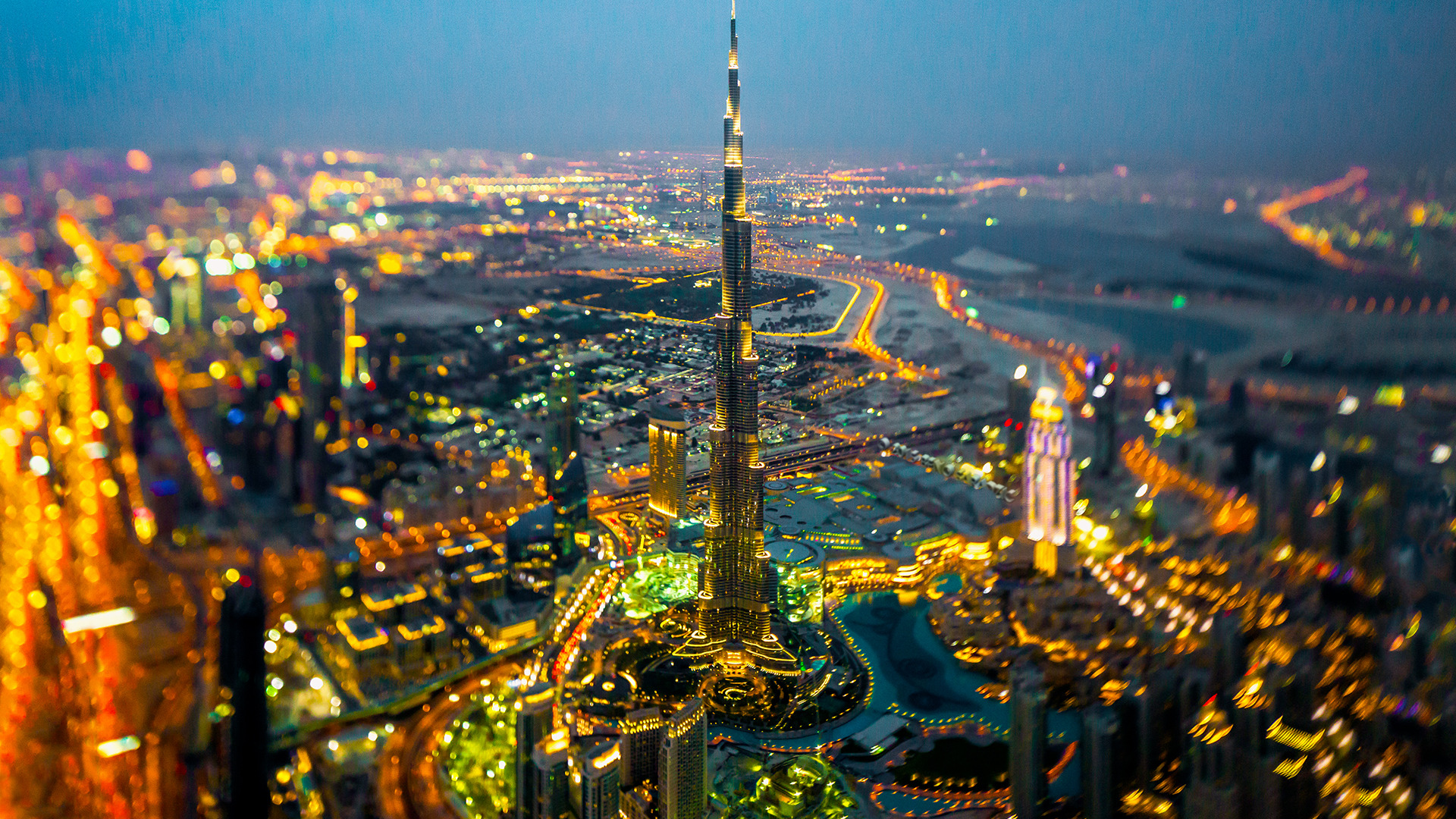 General 1920x1080 city cityscape building skyscraper tilt shift Burj Khalifa Dubai night city lights depth of field