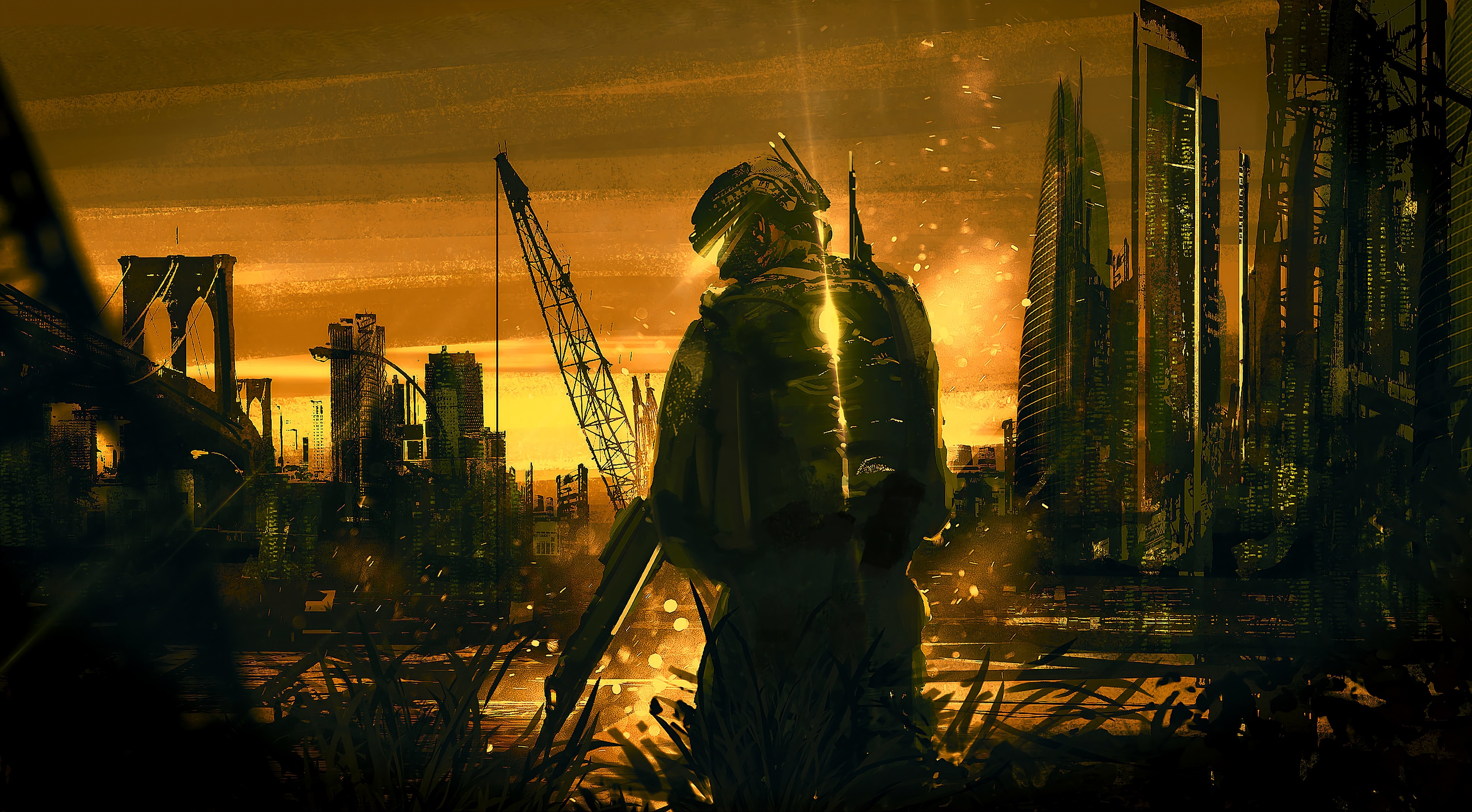 General 3840x2120 artwork digital art futuristic soldier city building skyscraper bridge Manhattan Bridge