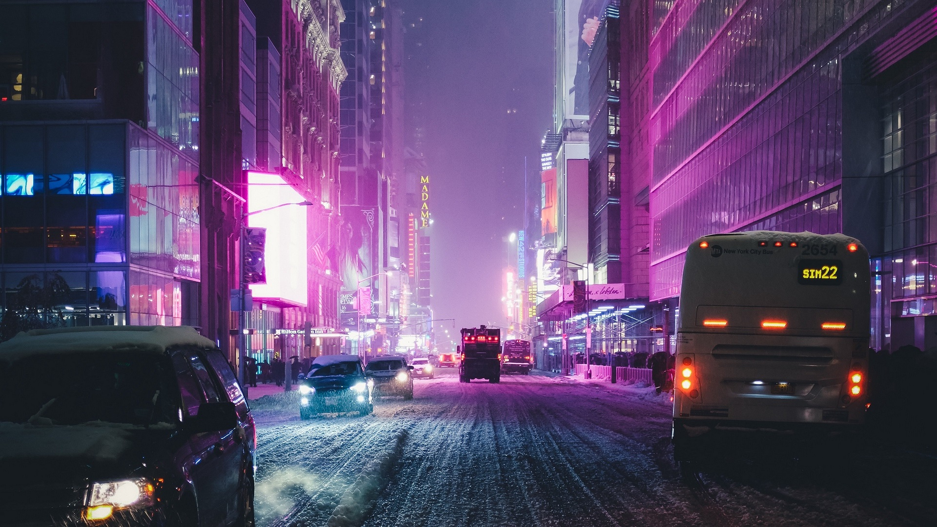 General 1920x1080 city night road car snow winter building neon New York City