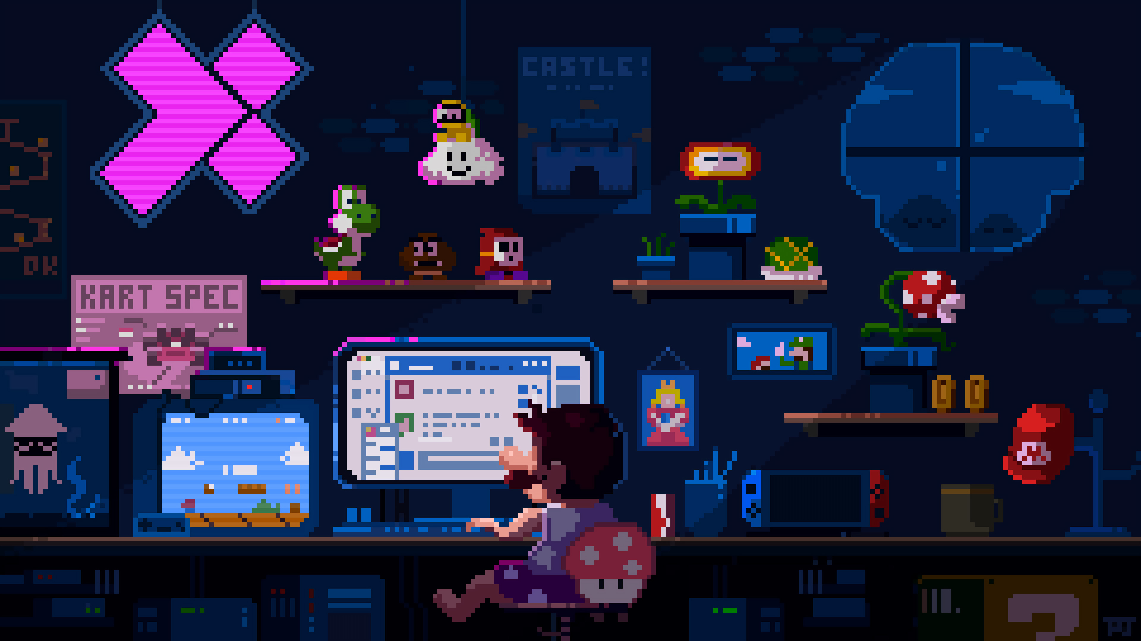 General 3840x2160 Super Mario pixel art Super Mario Kart computer mushroom night Nintendo Nintendo Switch Donkey Kong Yoshi Peach Luigi Goomba Shy Guy