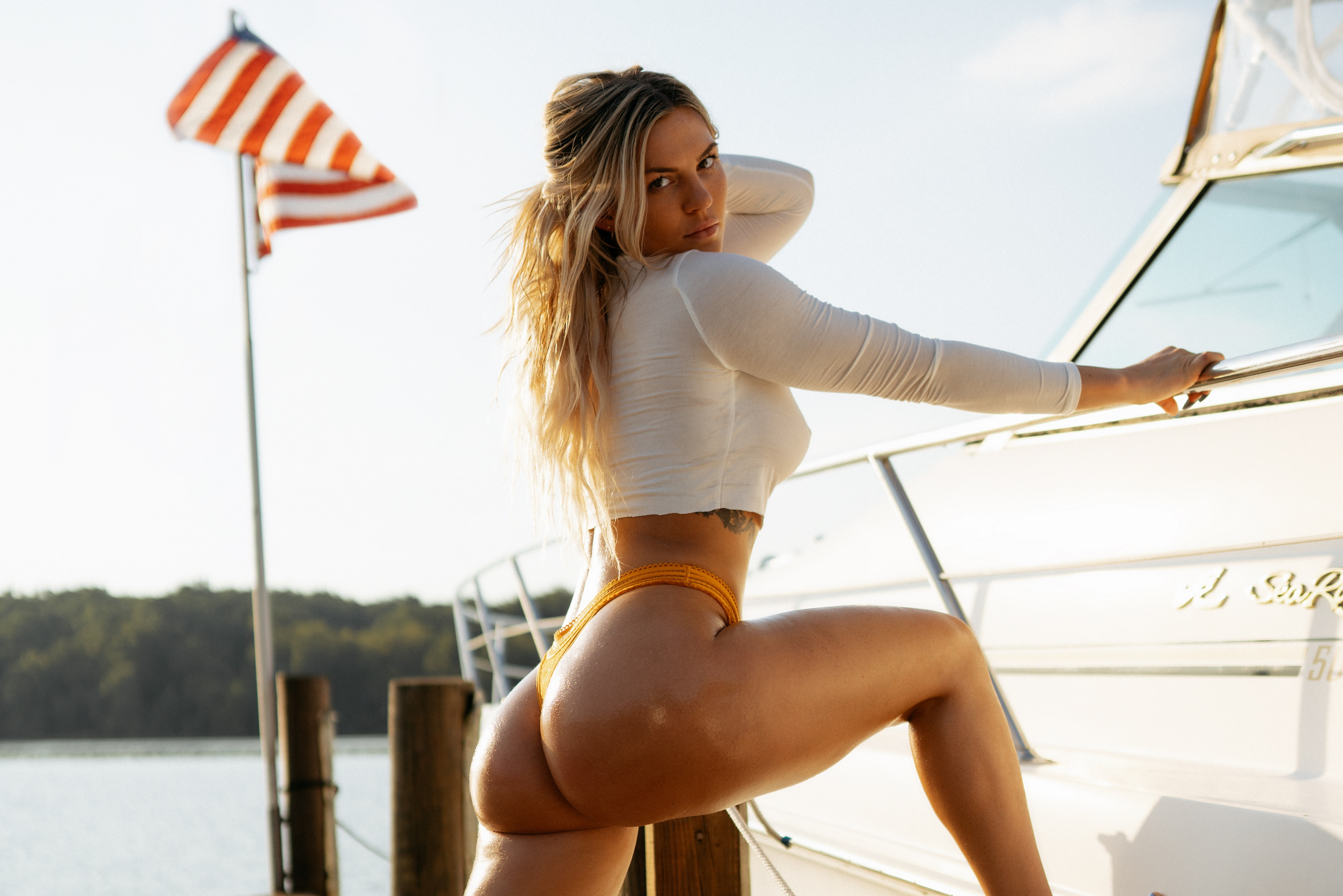 People 4000x2670 women model blonde long hair looking at viewer hand on head white tops nipple bulge panties yellow panties thong underwear ass curvy thick thigh thighs body oil tanned tattoo inked girls butt floss yachts yacht lake flag Stars and Stripes American flag side view no bra summer outdoors women outdoors Mariah Maverick