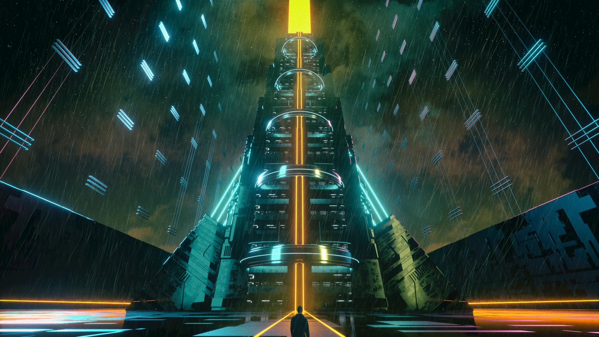 General 1920x1080 David Legnon cyberpunk elevator neon glow orange glowing rain night low-angle frontal view