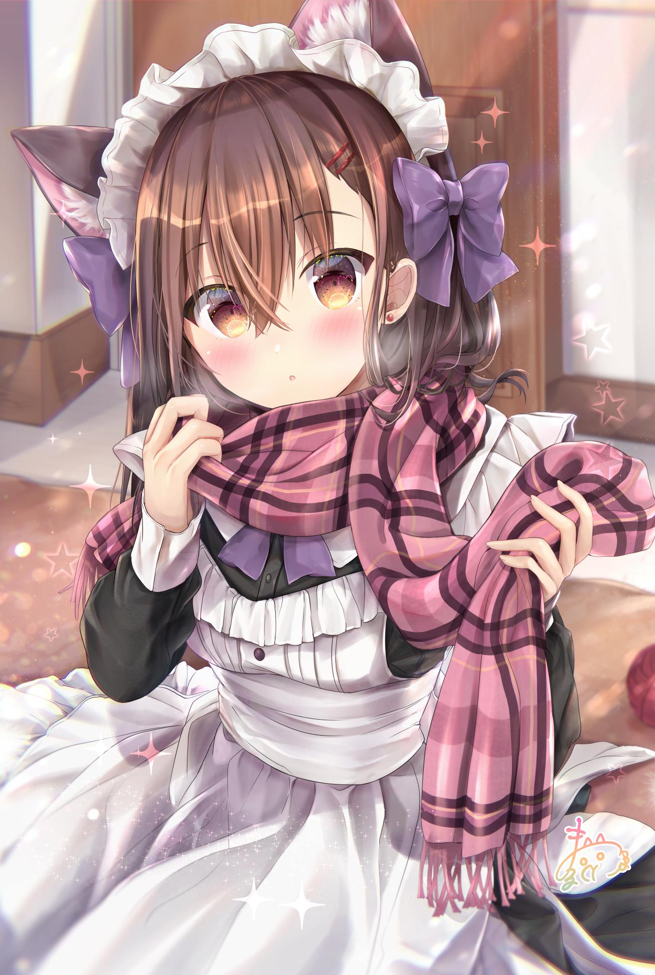 Anime 1314x1955 anime anime girls digital art artwork 2D portrait display vertical Maruma animal ears cat girl brunette brown eyes blush scarf maid outfit