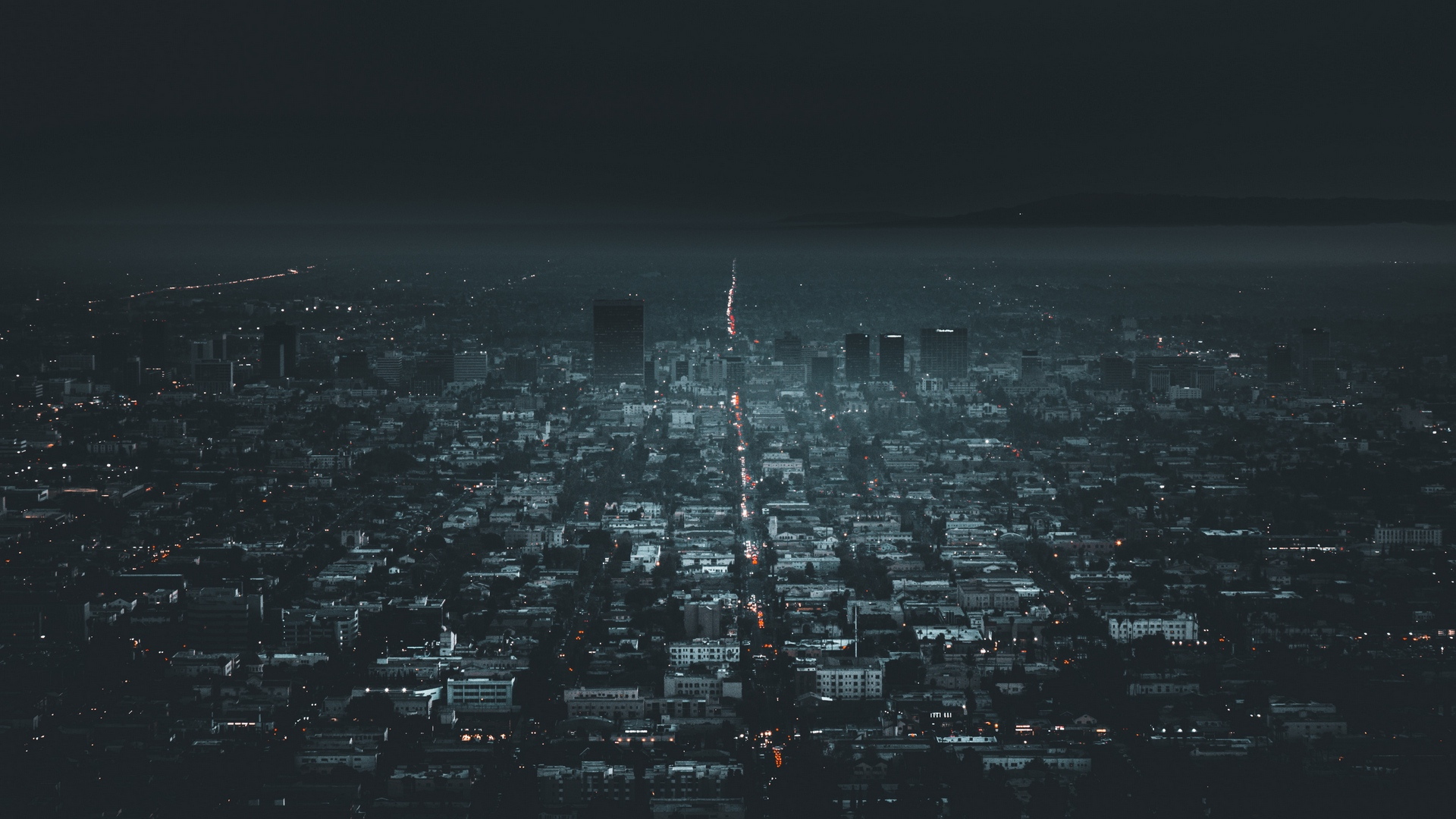 General 1920x1080 city night aerial aerial view lights traffic building cityscape dark California Los Angeles