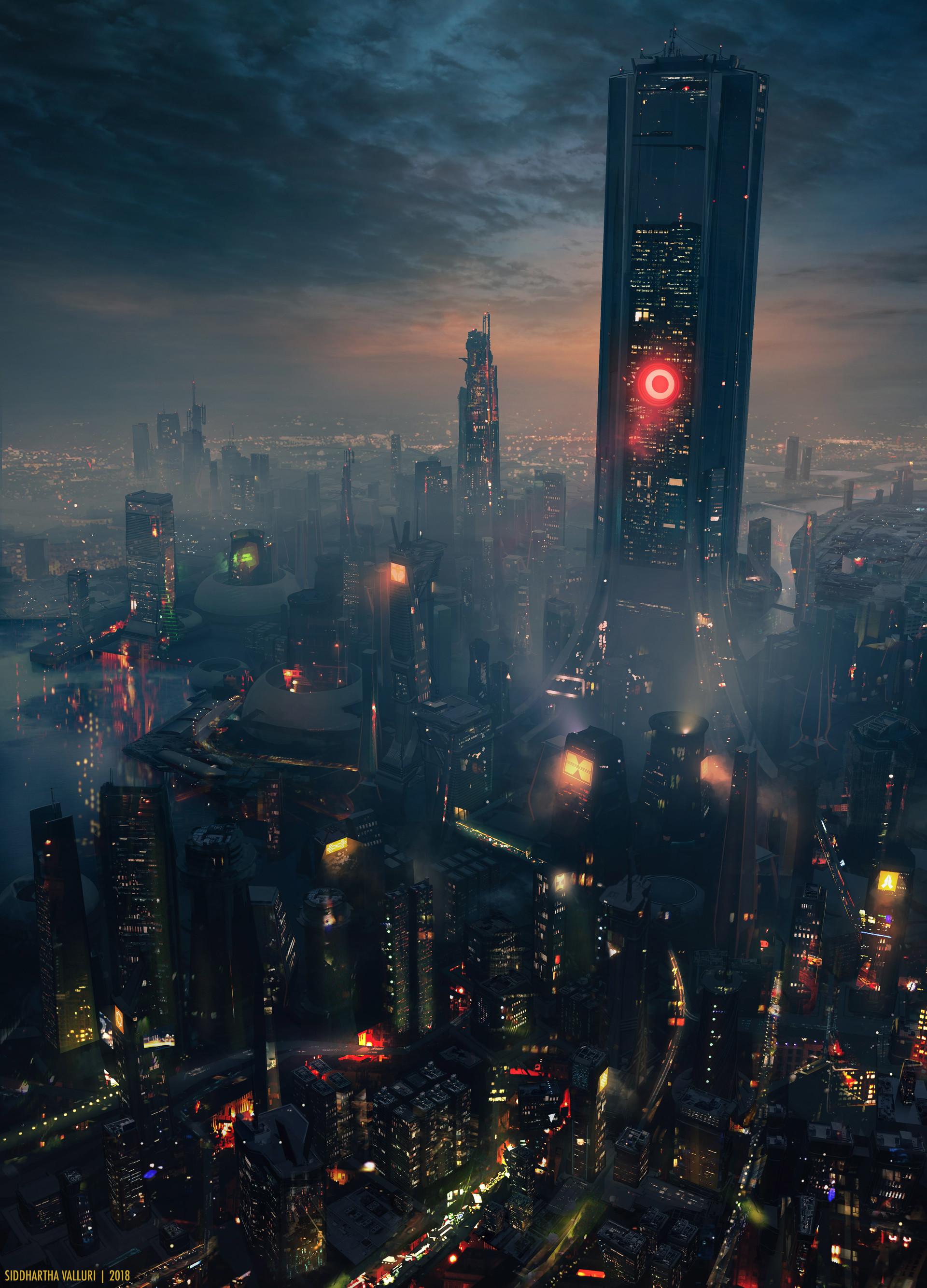General 1920x2669 concept art cyberpunk city night dark science fiction cityscape smoke futuristic architecture building artwork digital portrait display